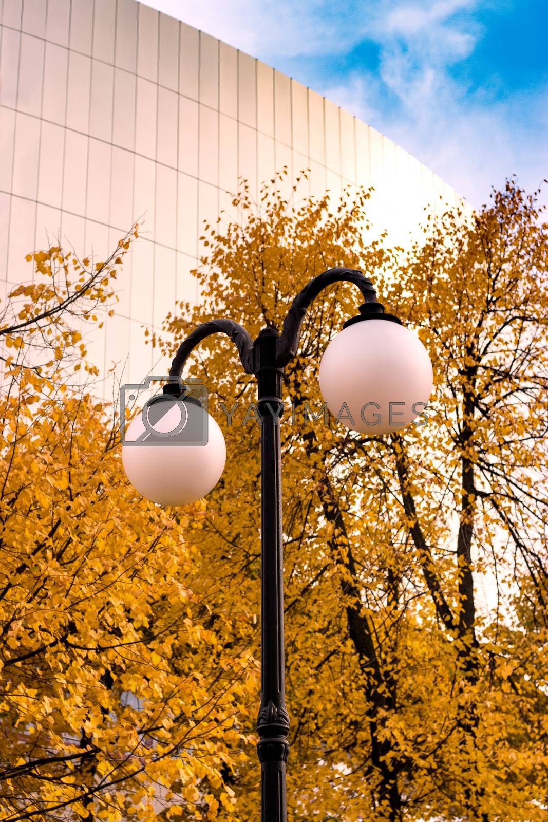 Street lamp in the park with yellow autumn trees and a large building on the background