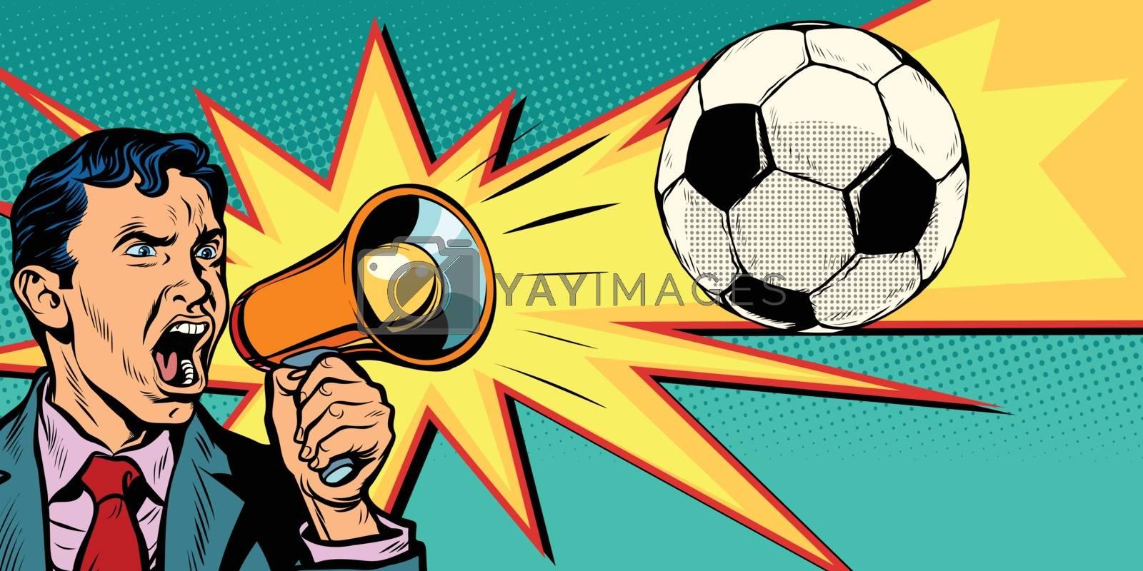 businessman with megaphone the fan of a football match. Pop art retro vector illustration comic cartoon kitsch drawing