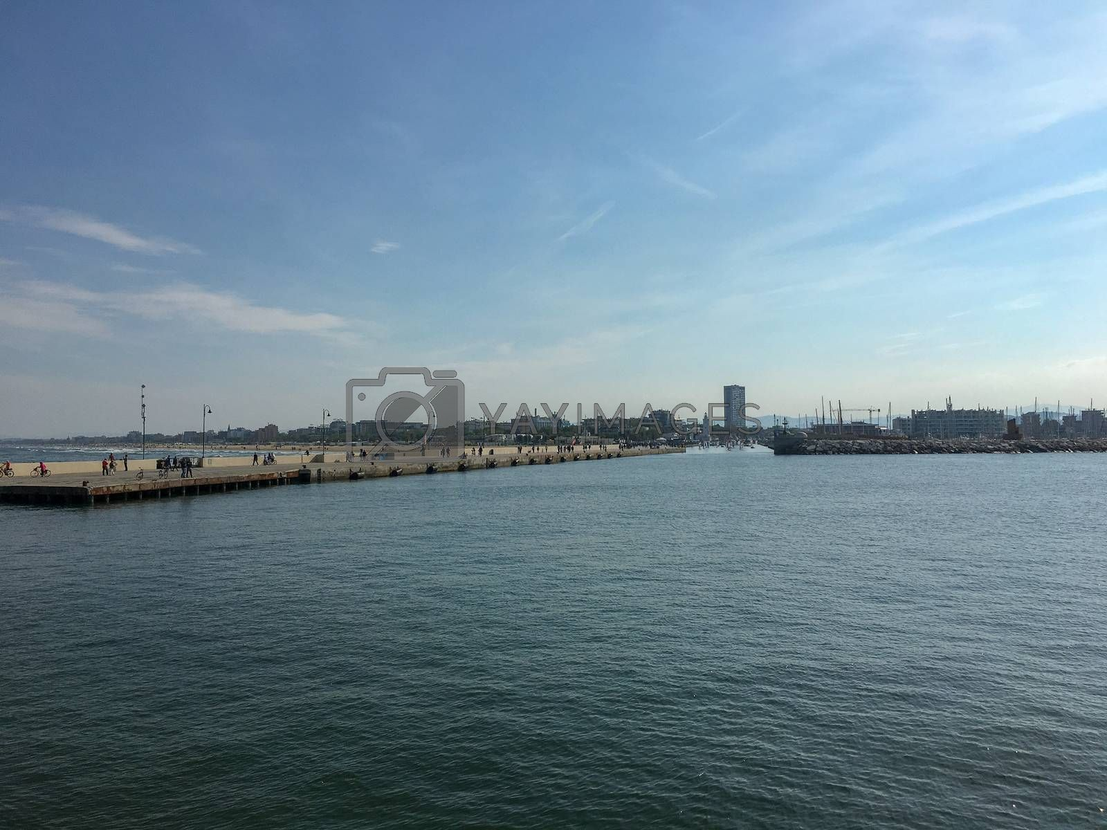 view from the boat to venice pier at summer
