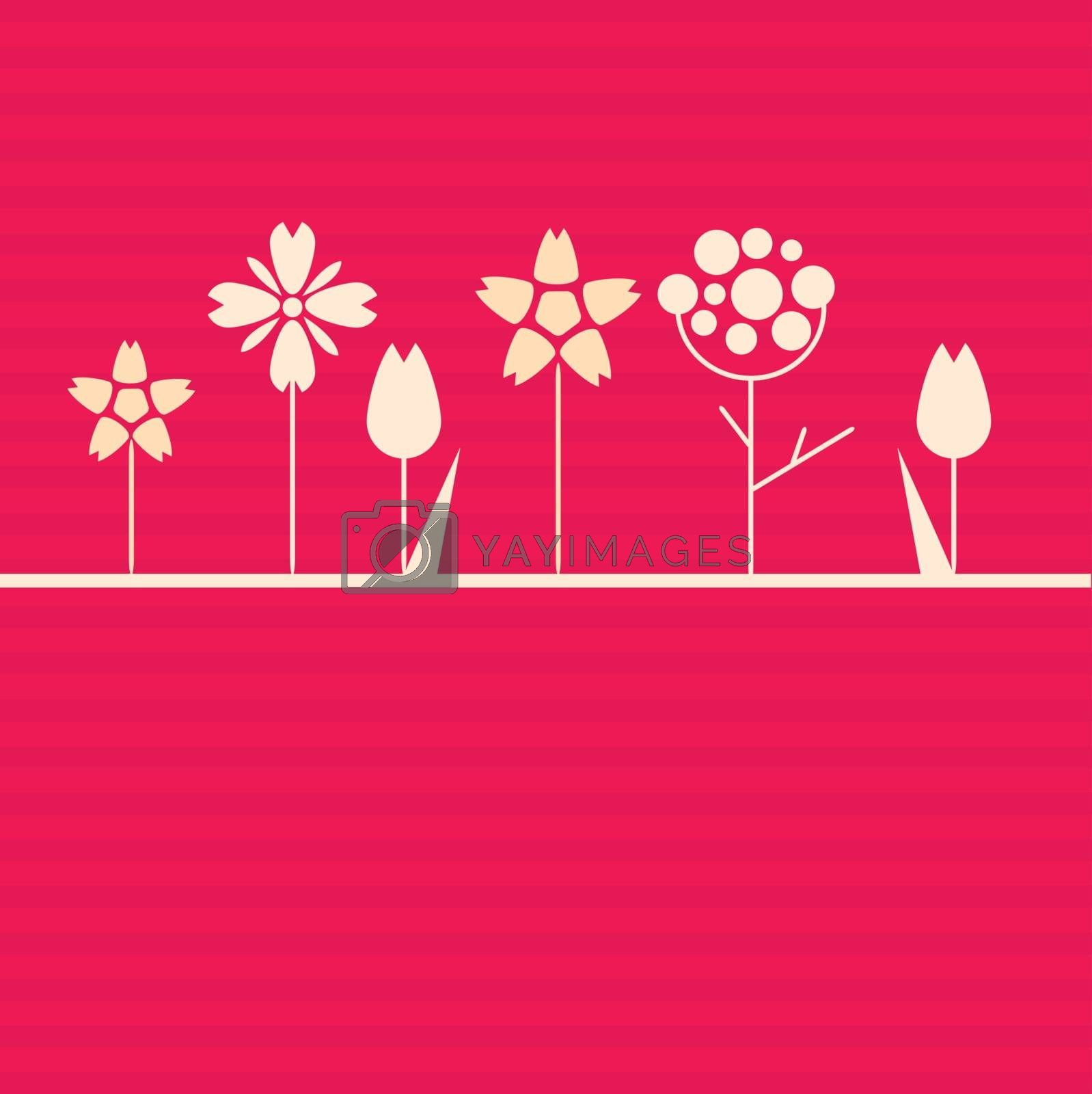 White geometric flowers on pink bright background