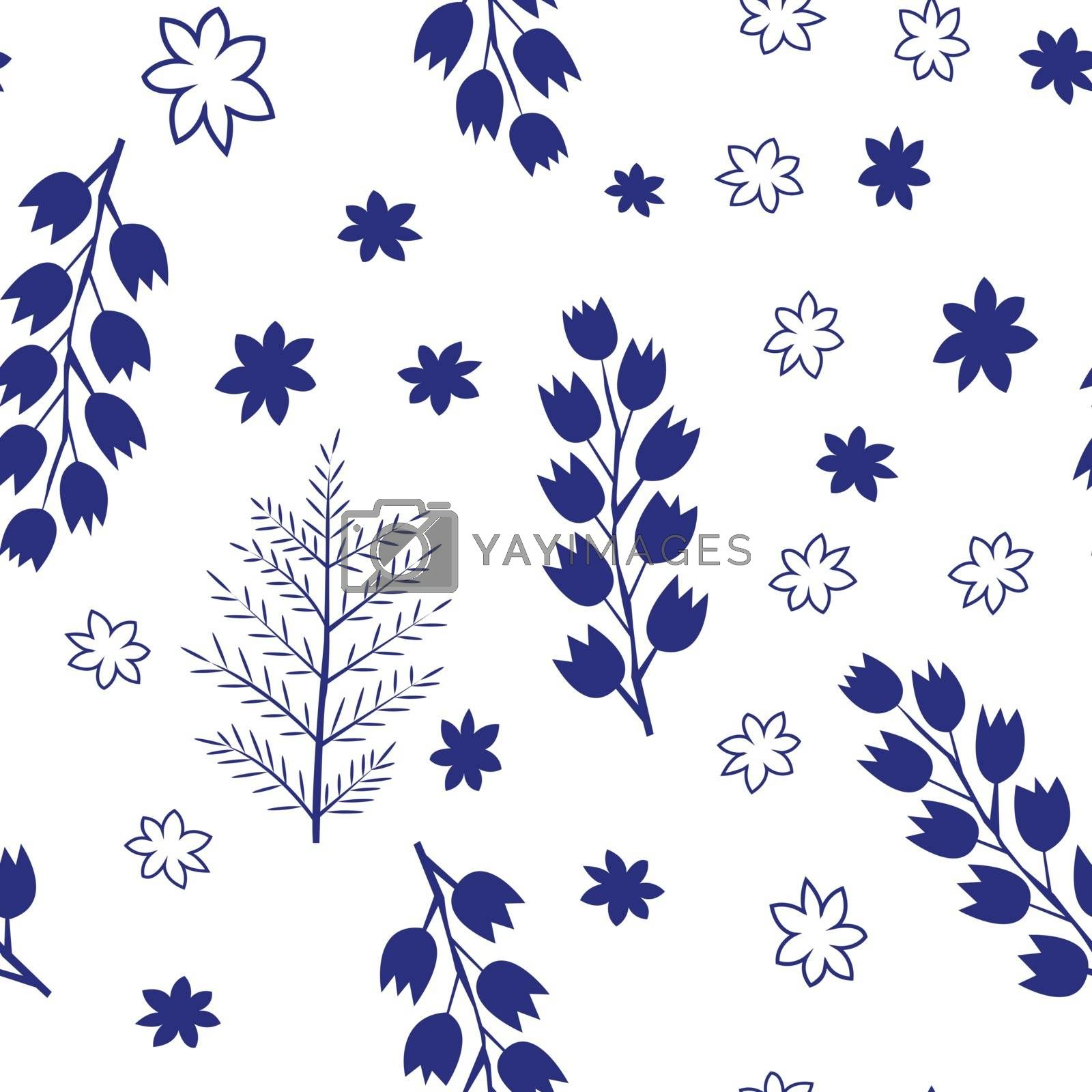 Colorful flowers set isolated on white background
