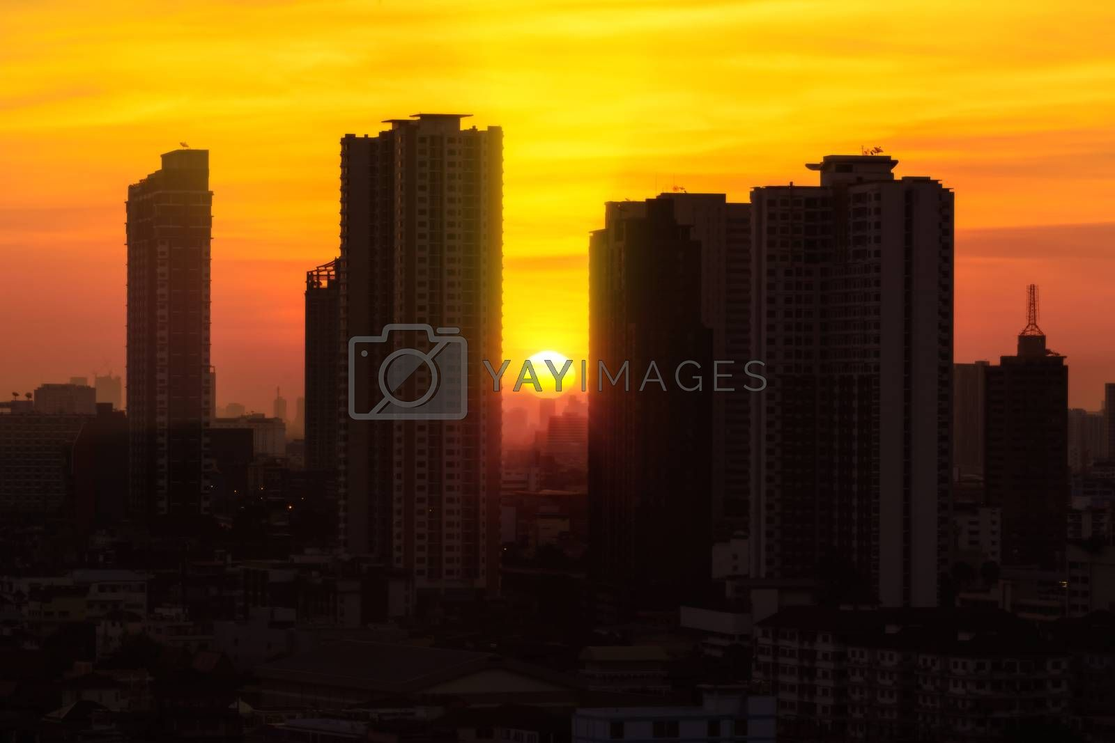 The siluate cityscape photography plus orton Effect