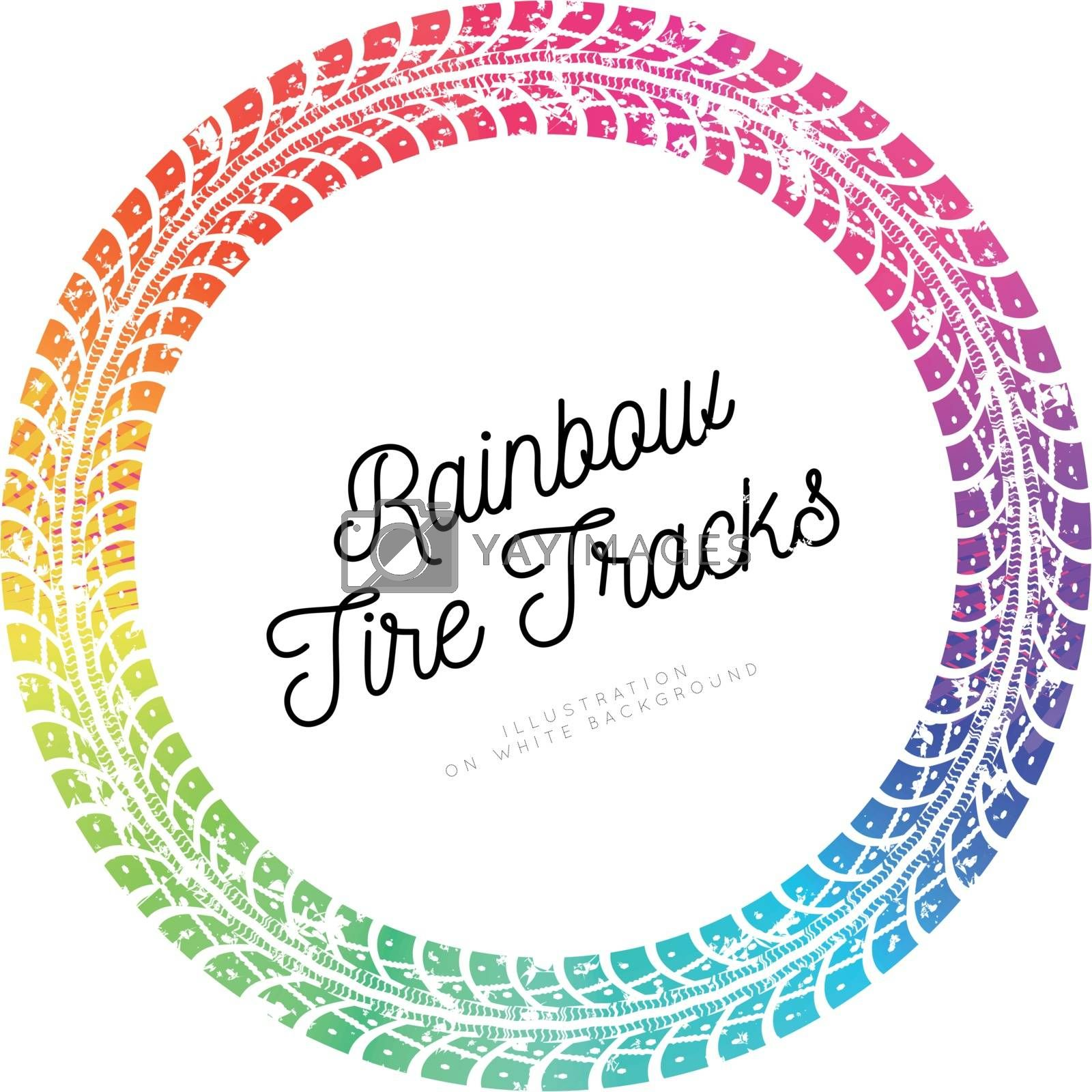 Colorful Tire tracks. Vector illustration on white background