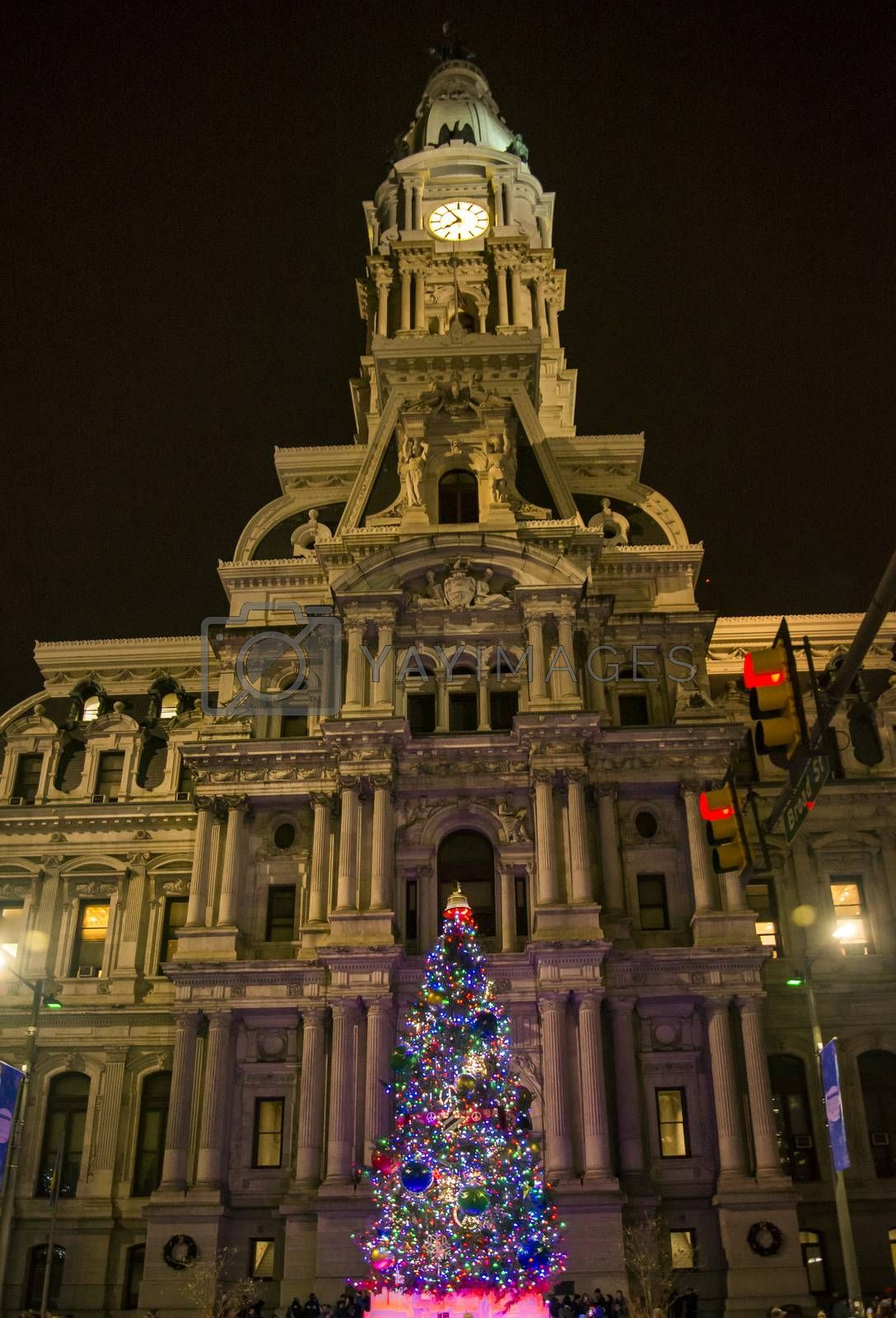the famous Philadelphia city hall by night, Pennsylvania USA