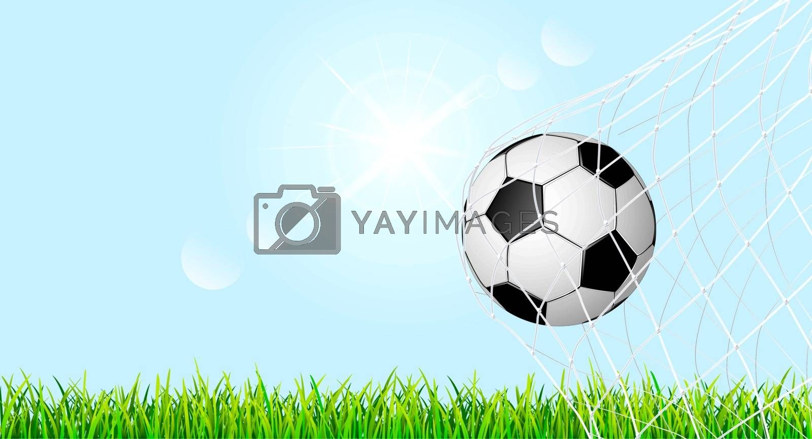 Banner with soccer ball and grass lawn.The soccer ball is in the goal net. Soccer ball on green grass against the blue sky.