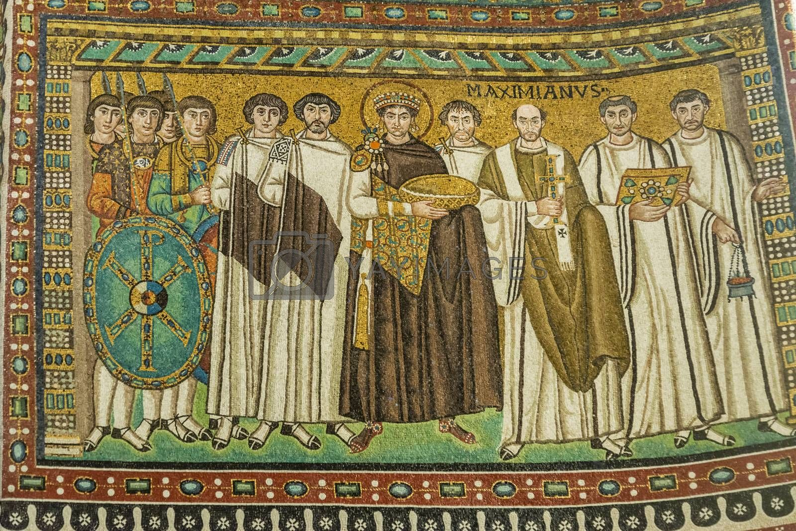 mosaic inside the famous Basilica di San Vitale, one of the most important examples of early Christian Byzantine art in western Europe, in Ravenna, region of Emilia-Romagna, Italy