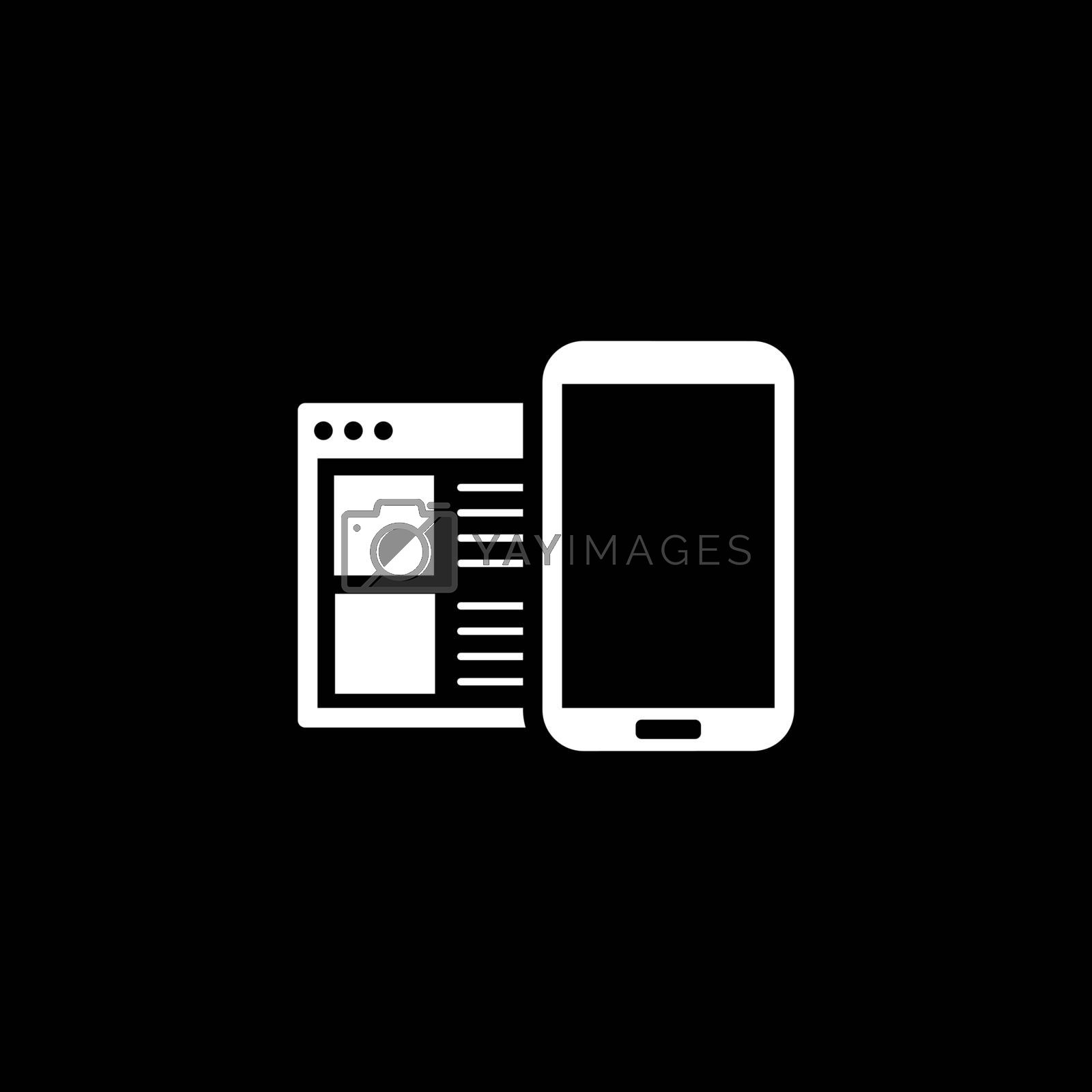Mobile Surfing Icon. Flat Design. Mobile Devices and Services Concept. Isolated Illustration.