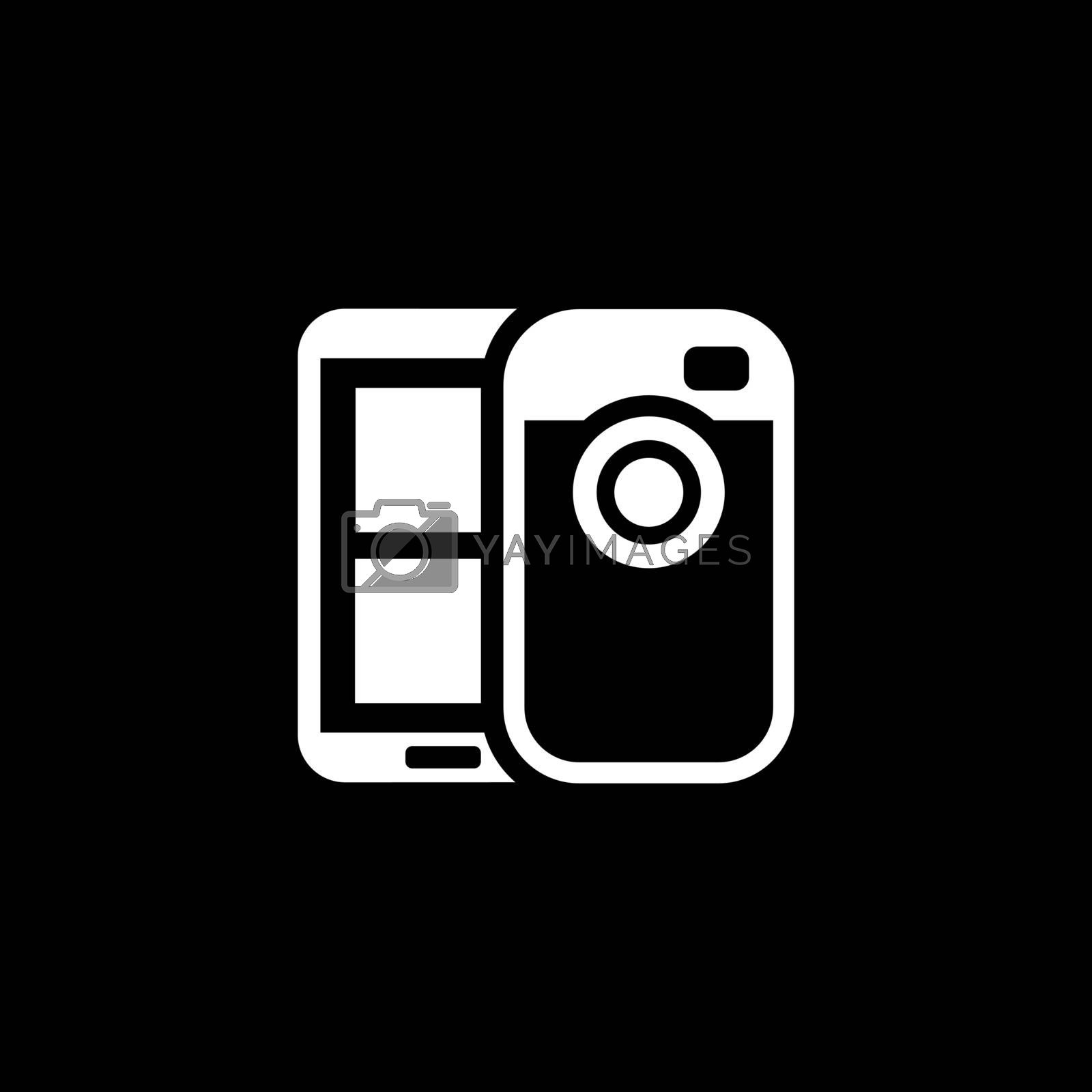 Mobile Photo Blogging Icon. Flat Design. Mobile Devices and Services Concept. Isolated Illustration.