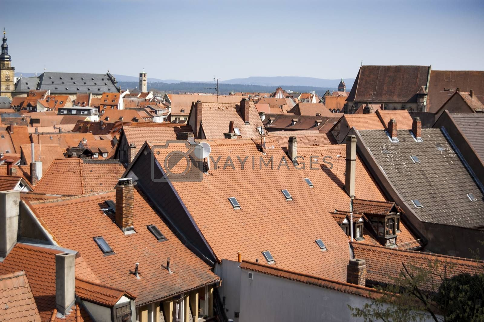 Red roofs of old German towns Bamberg, Bavaria, Germany
