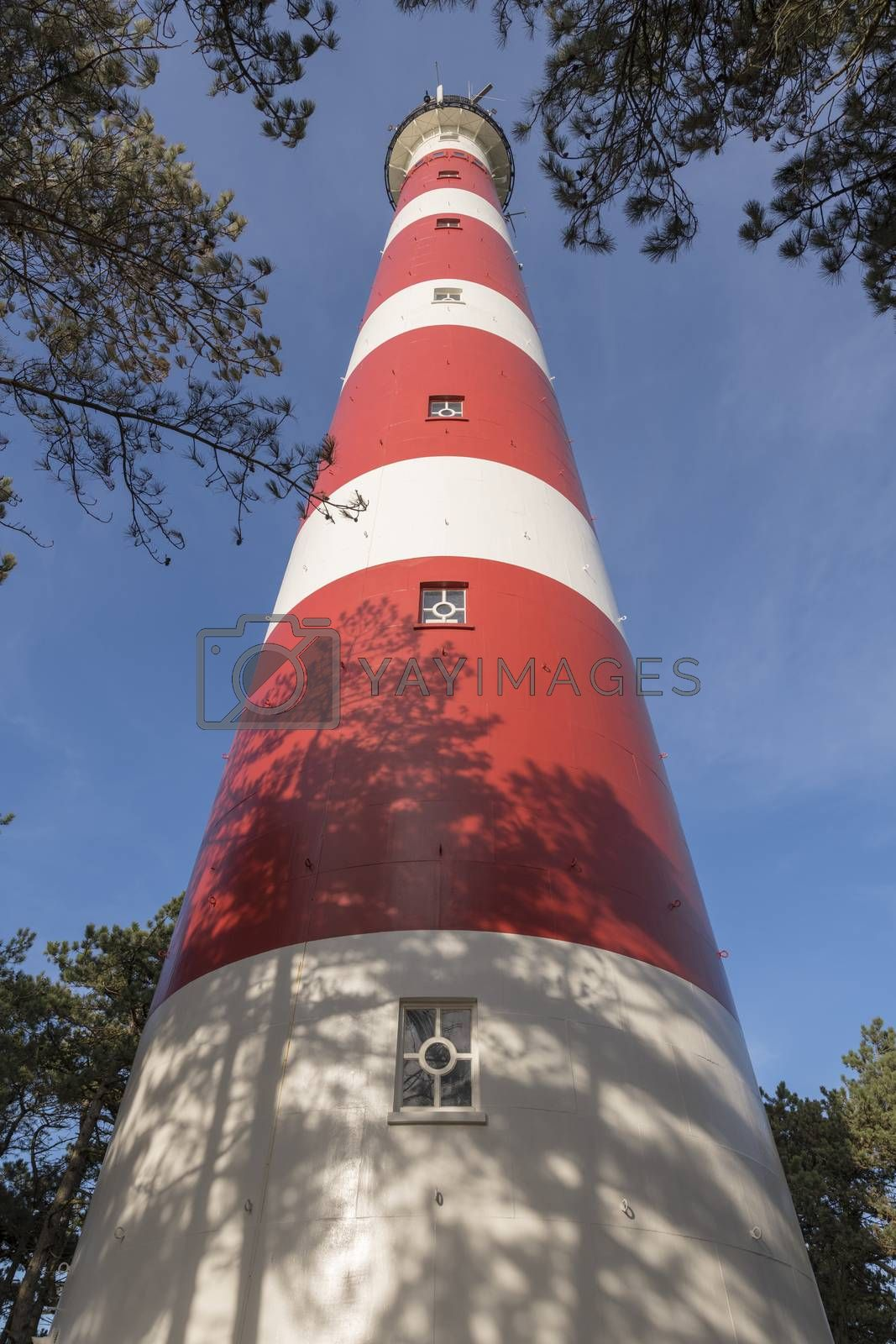 Lighthouse of the island Ameland in northern Netherlands as wide-angle shot