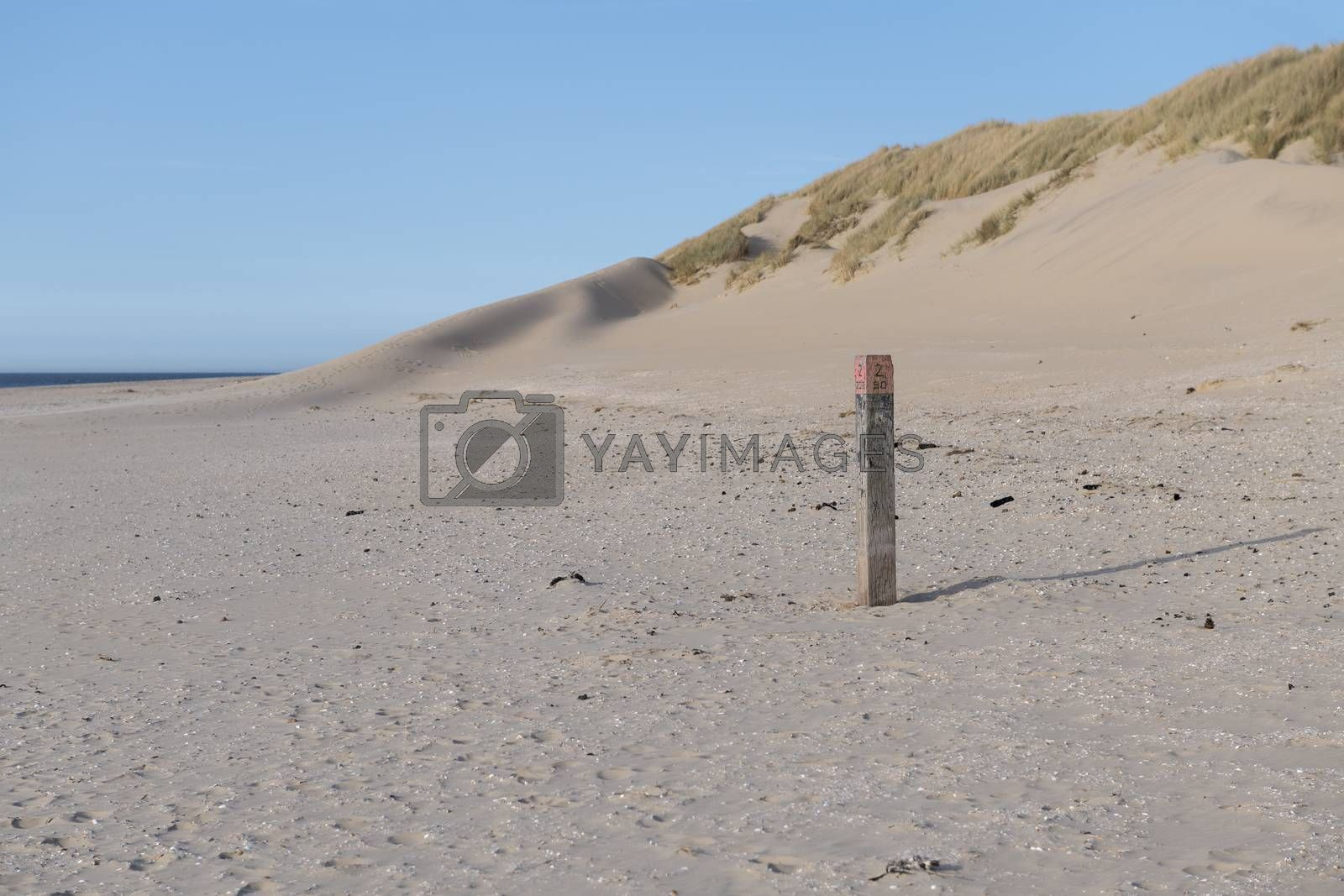 North Sea Beach on the island of Ameland in the Netherlands with beach pole as part of the national pole line with dunes on the background