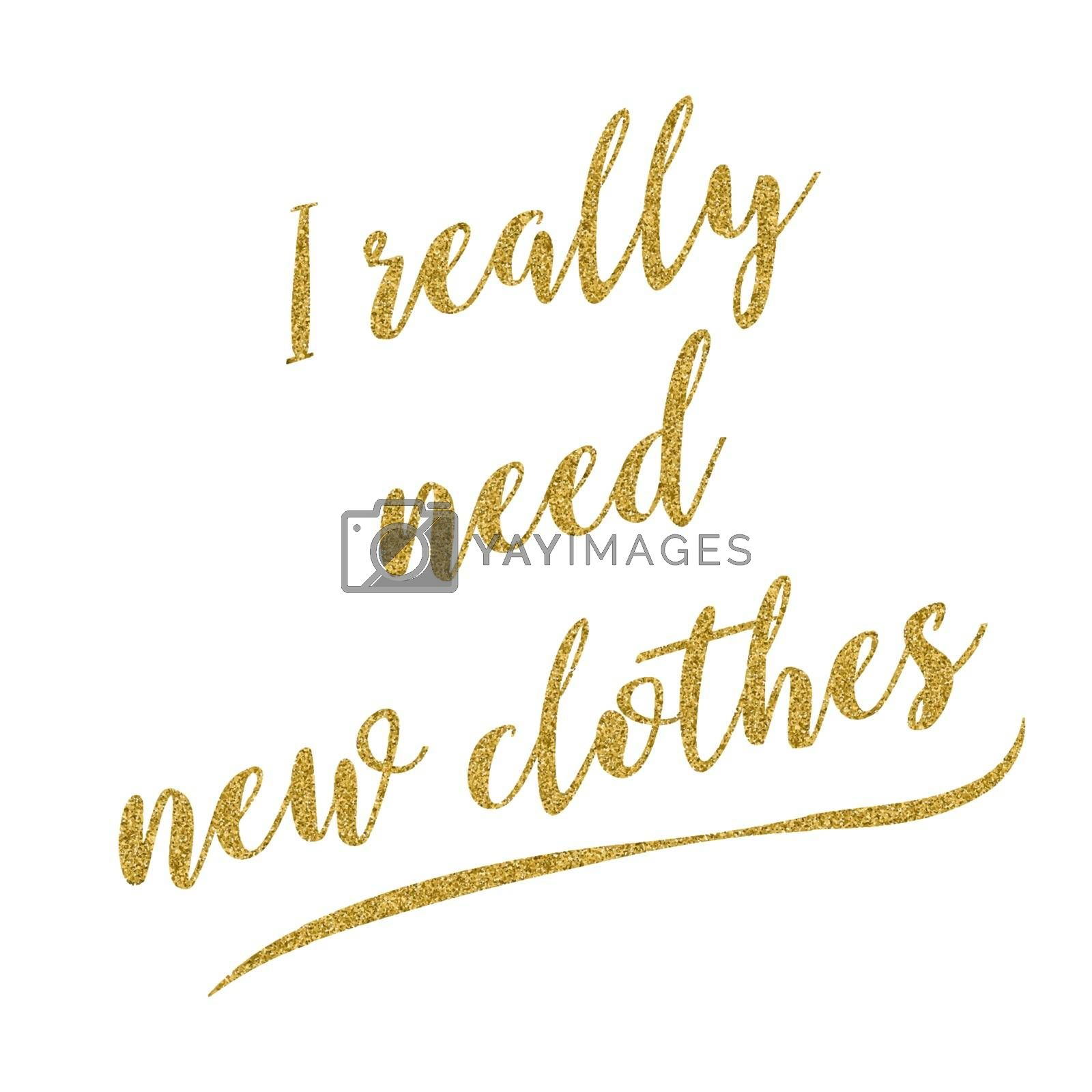 Funny fashion handwritten golden glitter quote about life, vector format