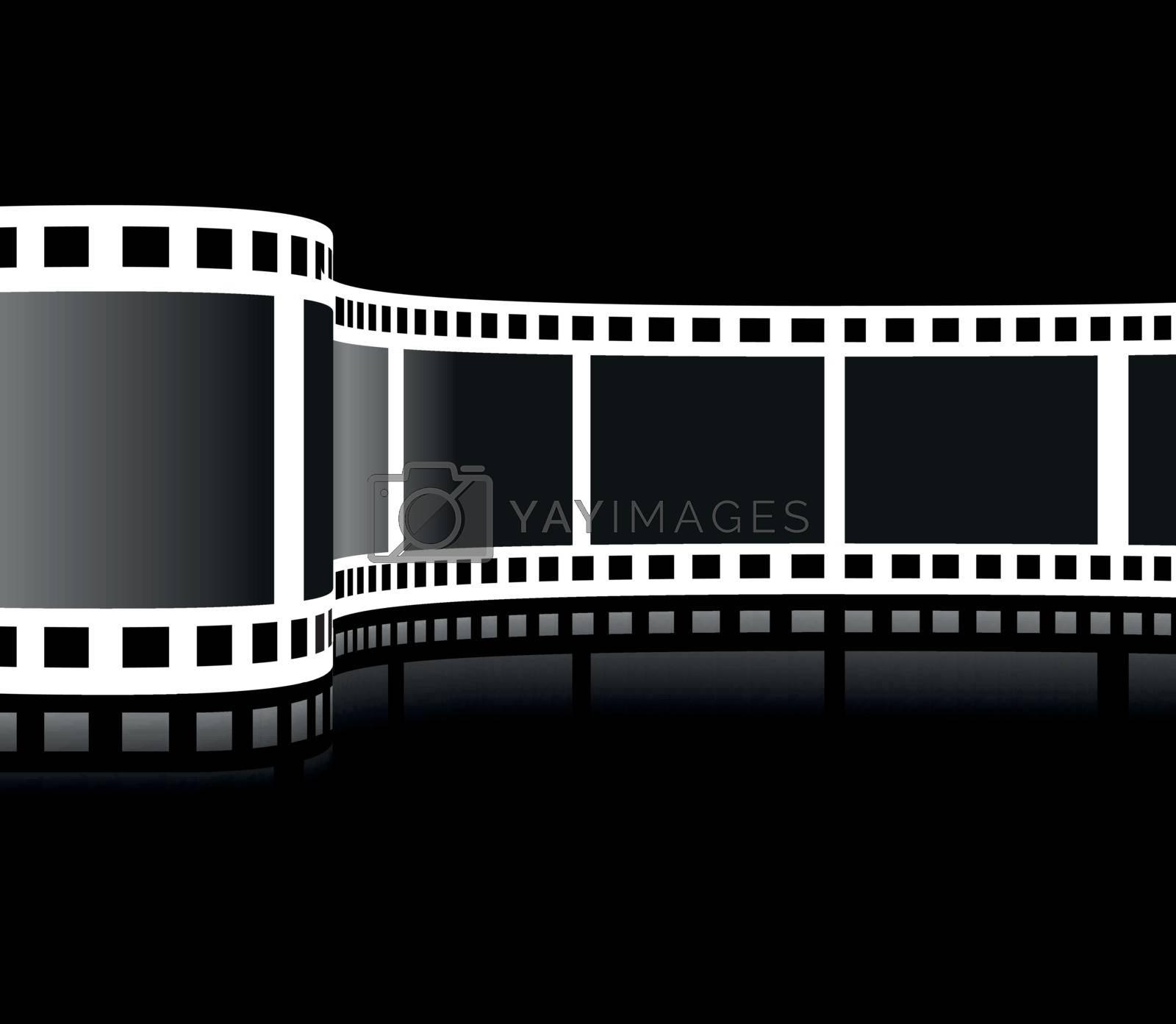 Film strip vector illustration on black background