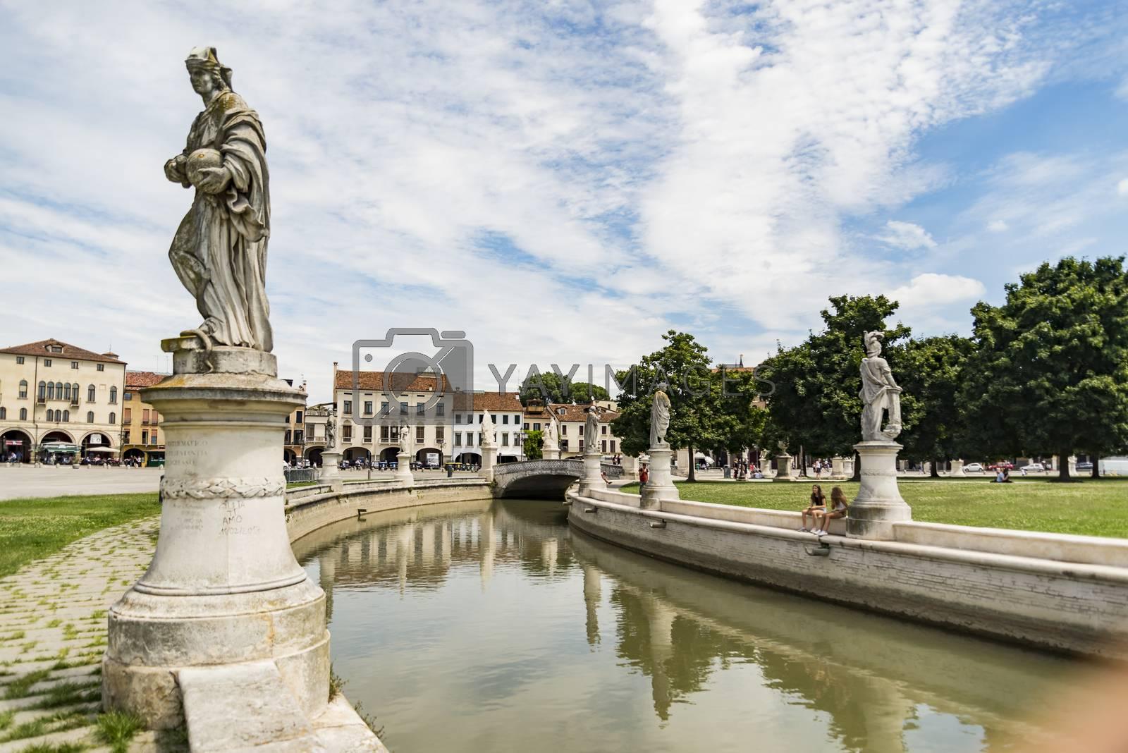 the oval canal arounf the fountain in Prato della Valle in Padua, Italy