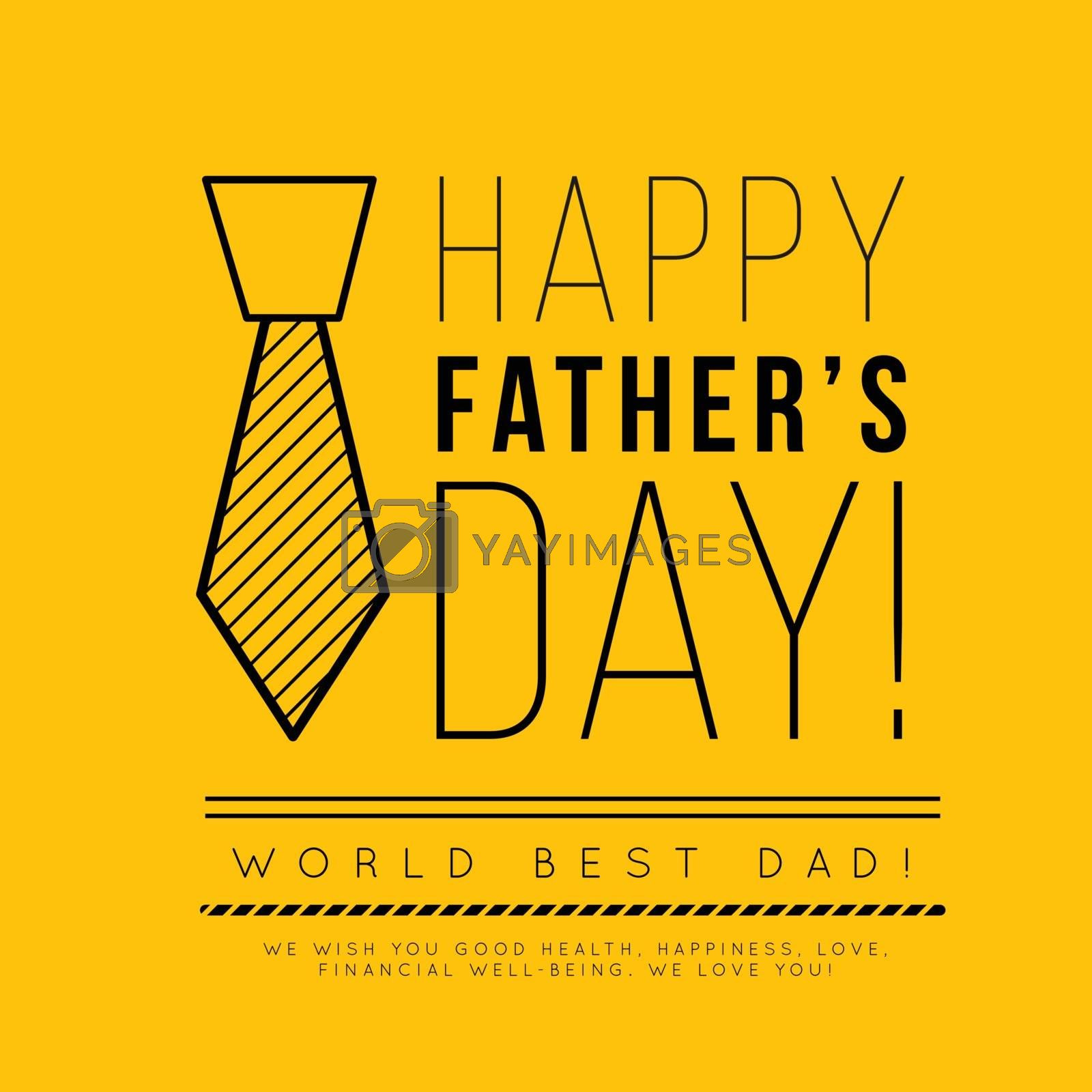 Happy father's day. Congratulation in the fashionable style of minimalism with geometric shapes on a yellow background