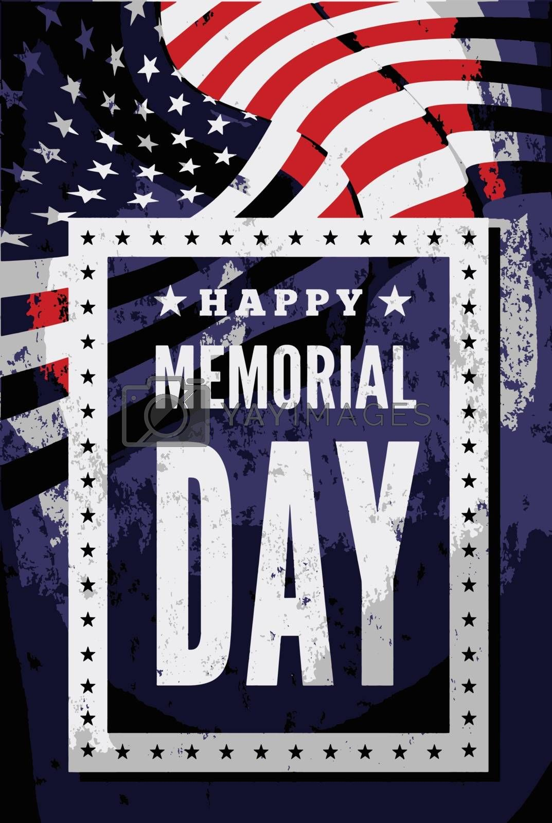 Memorial day vector illustration with US flag and congratulations on the dark background