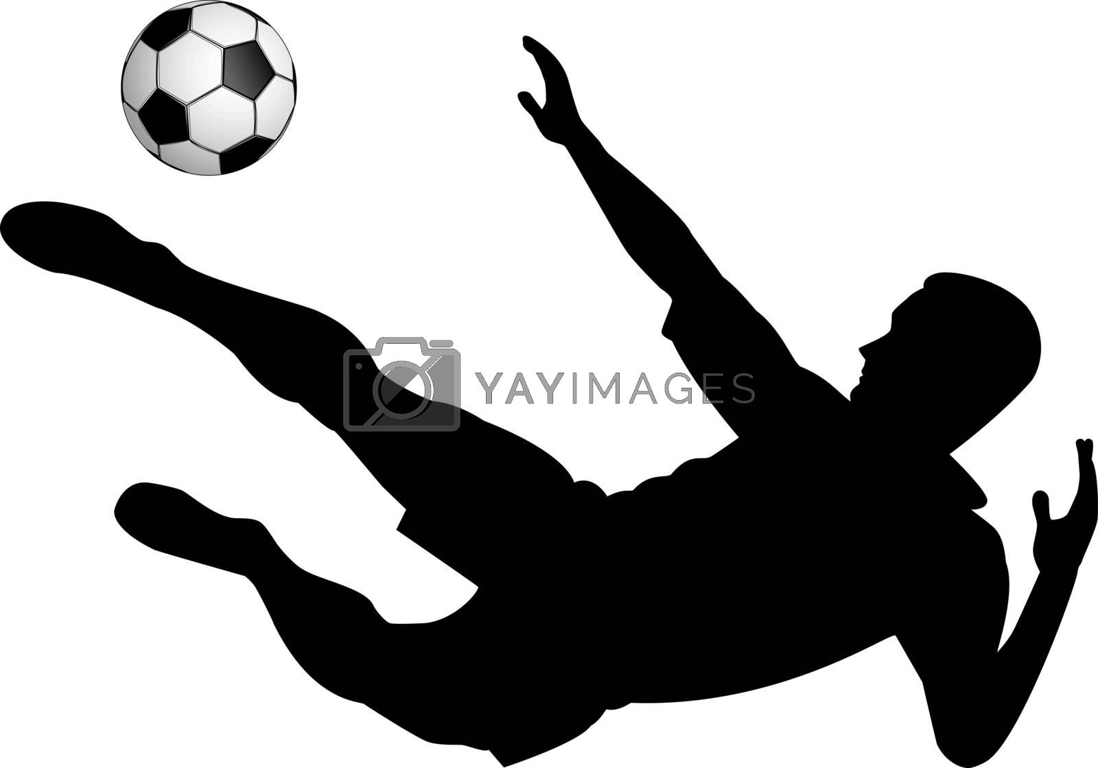 Silhouette of soccer player with a ball on a white background.