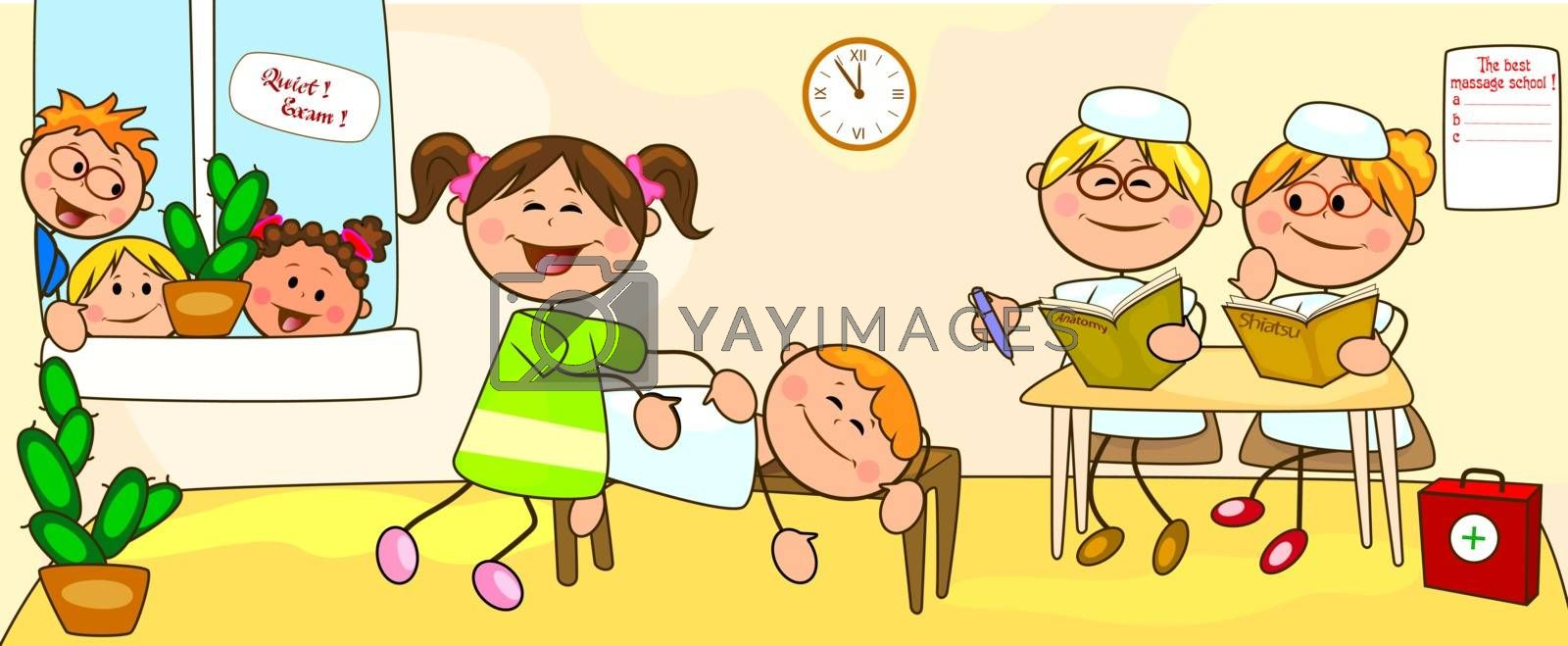 Girl doing massage. Examination on the courses on massage. School of massage, exam. Cartoon children in massage classes.