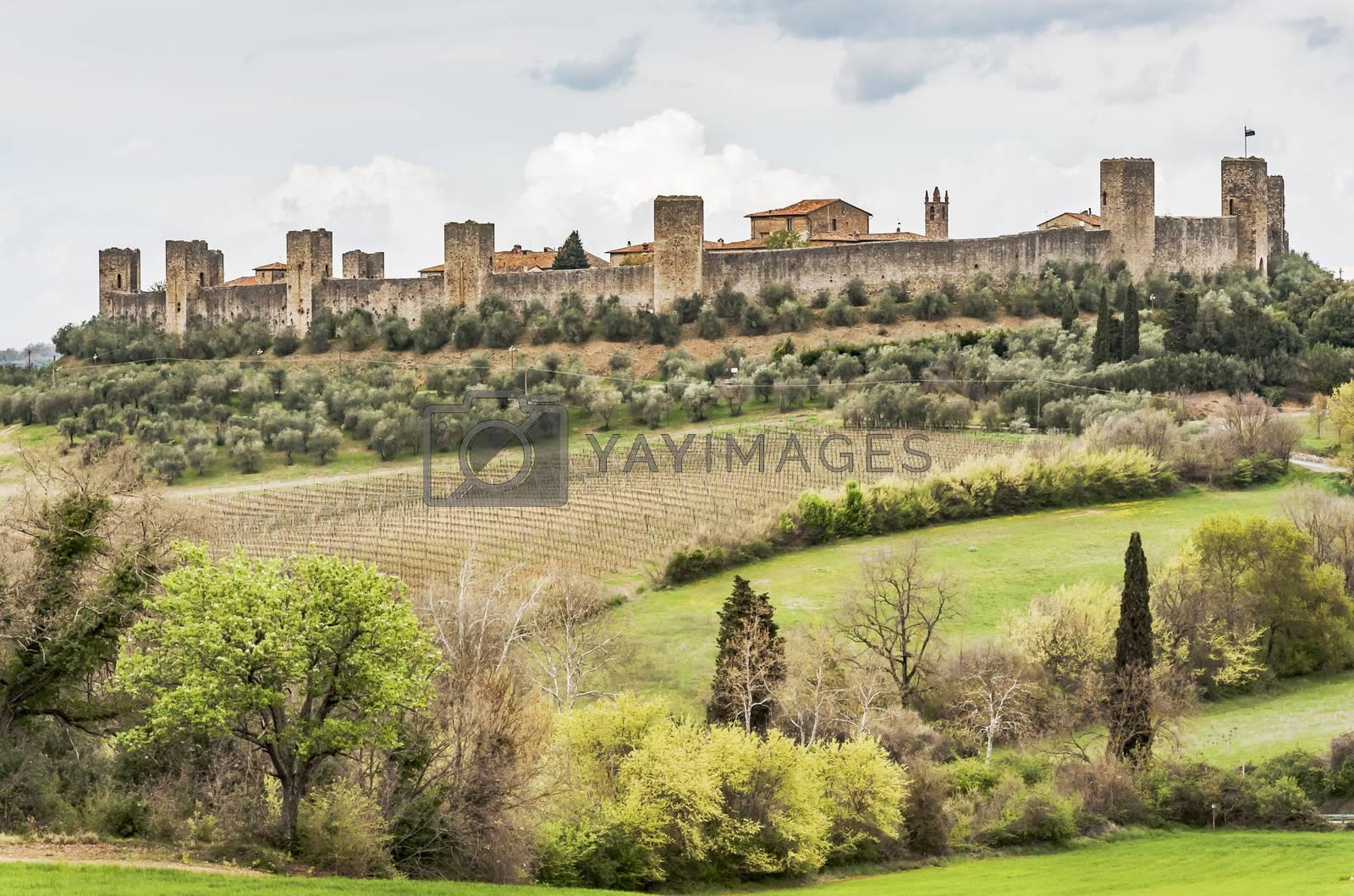 the fortress of Monteriggioni next to Siena, Tuscany, Italy