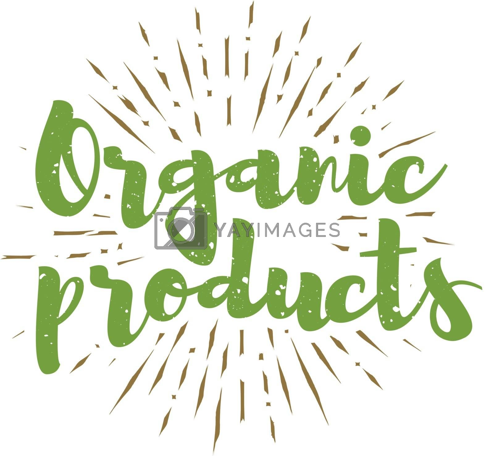 Organic products lettering with sunbursts background. Vector illustration