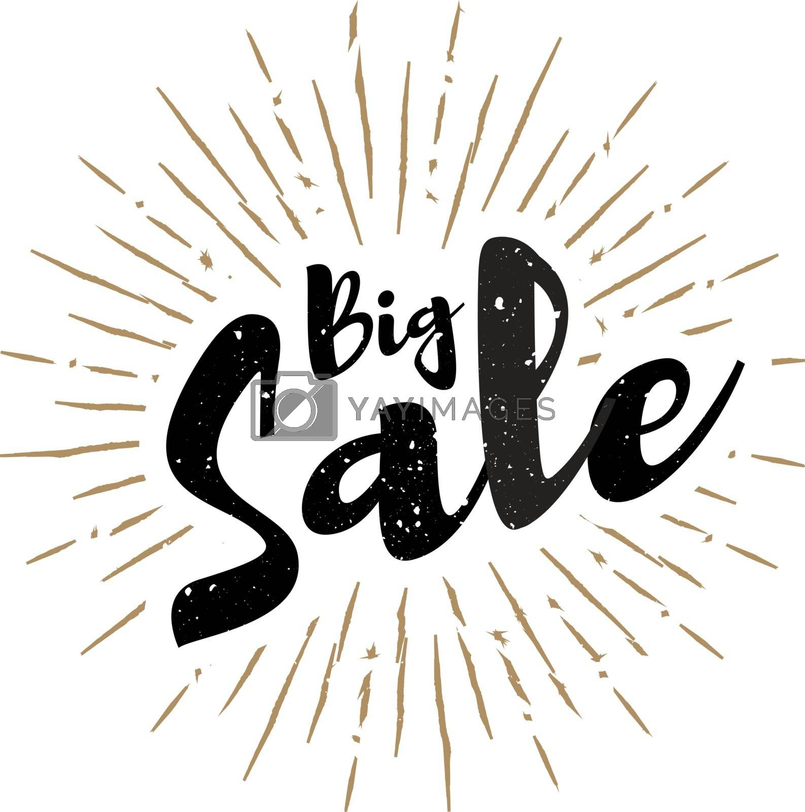 Royalty free image of Big sale lettering with sunbursts vector background by sermax55
