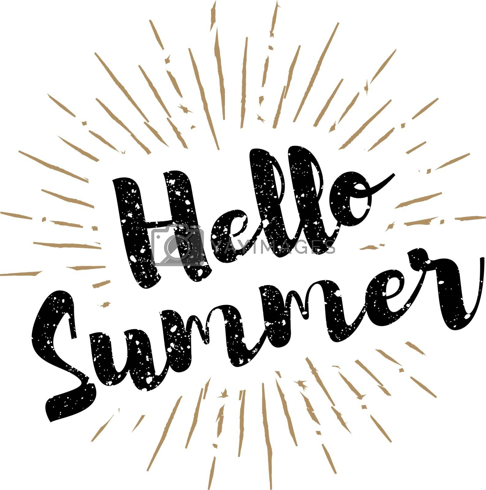 Hello summer lettering with sunbursts background. Vector illustration