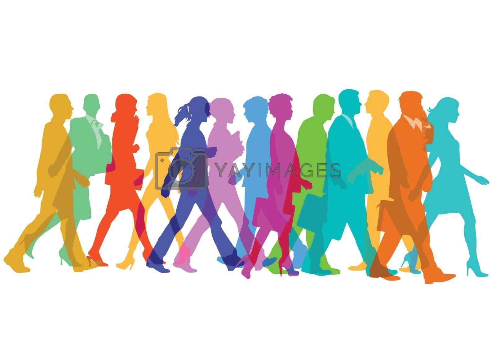 Colorful group of people are walking