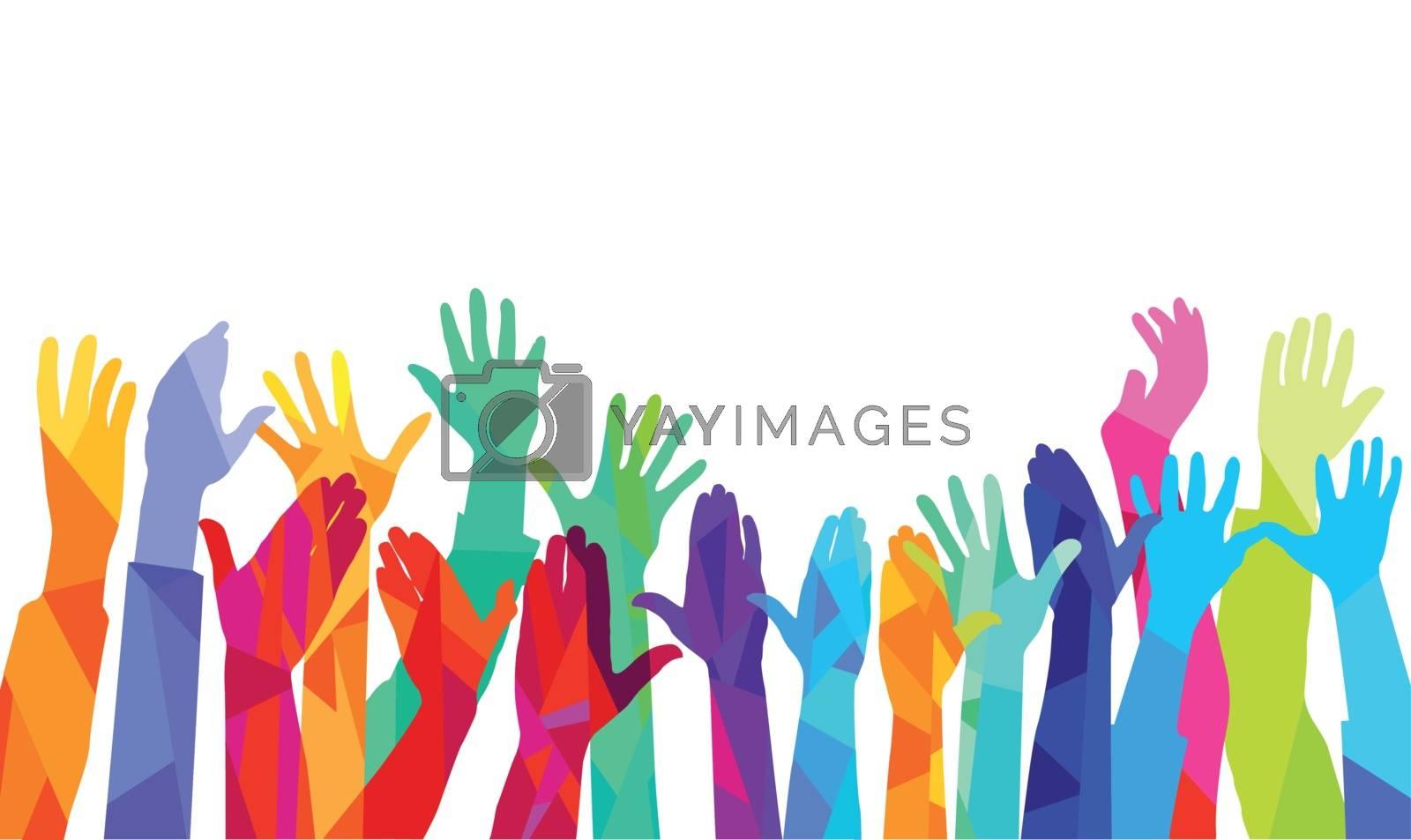Hands up, colorful illustration