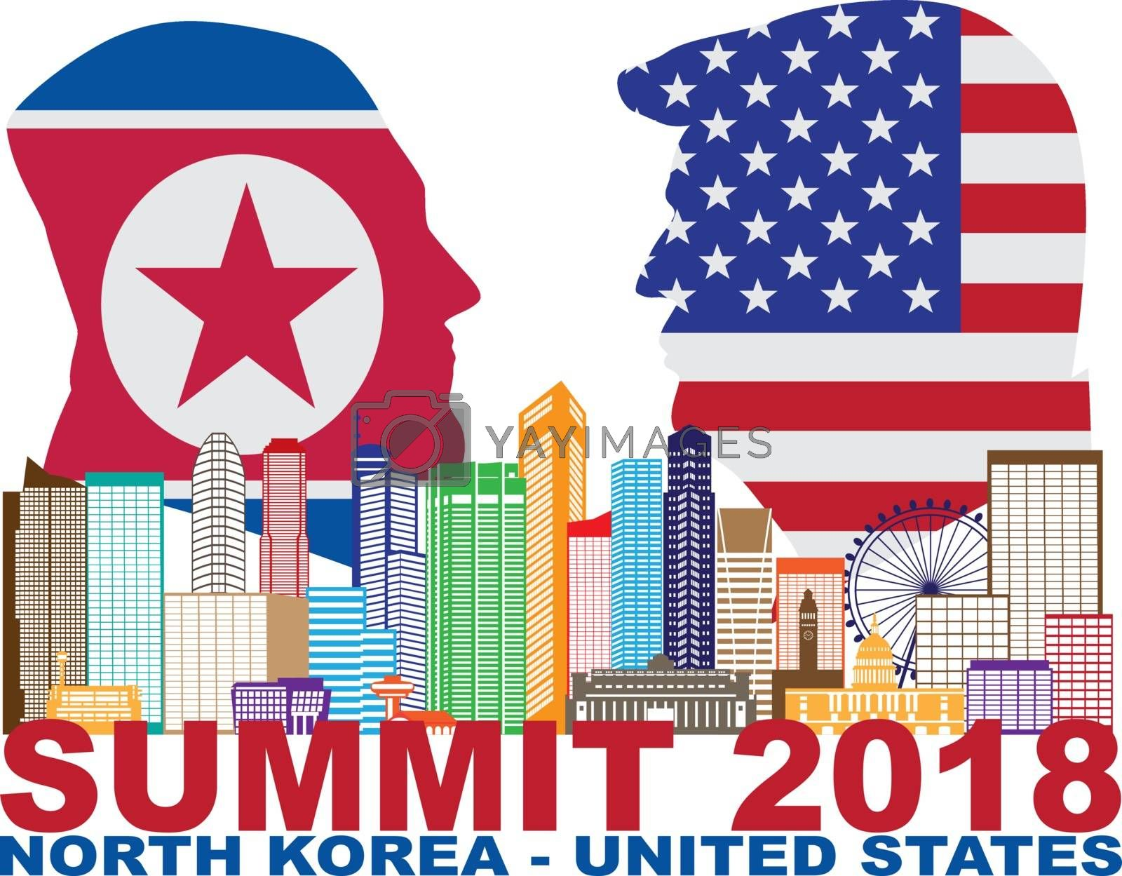 President Donald Trump and Kim Jong Un silhouettes with USA and North Korea Flags Summit 2018 Singapore city skyline Illustration