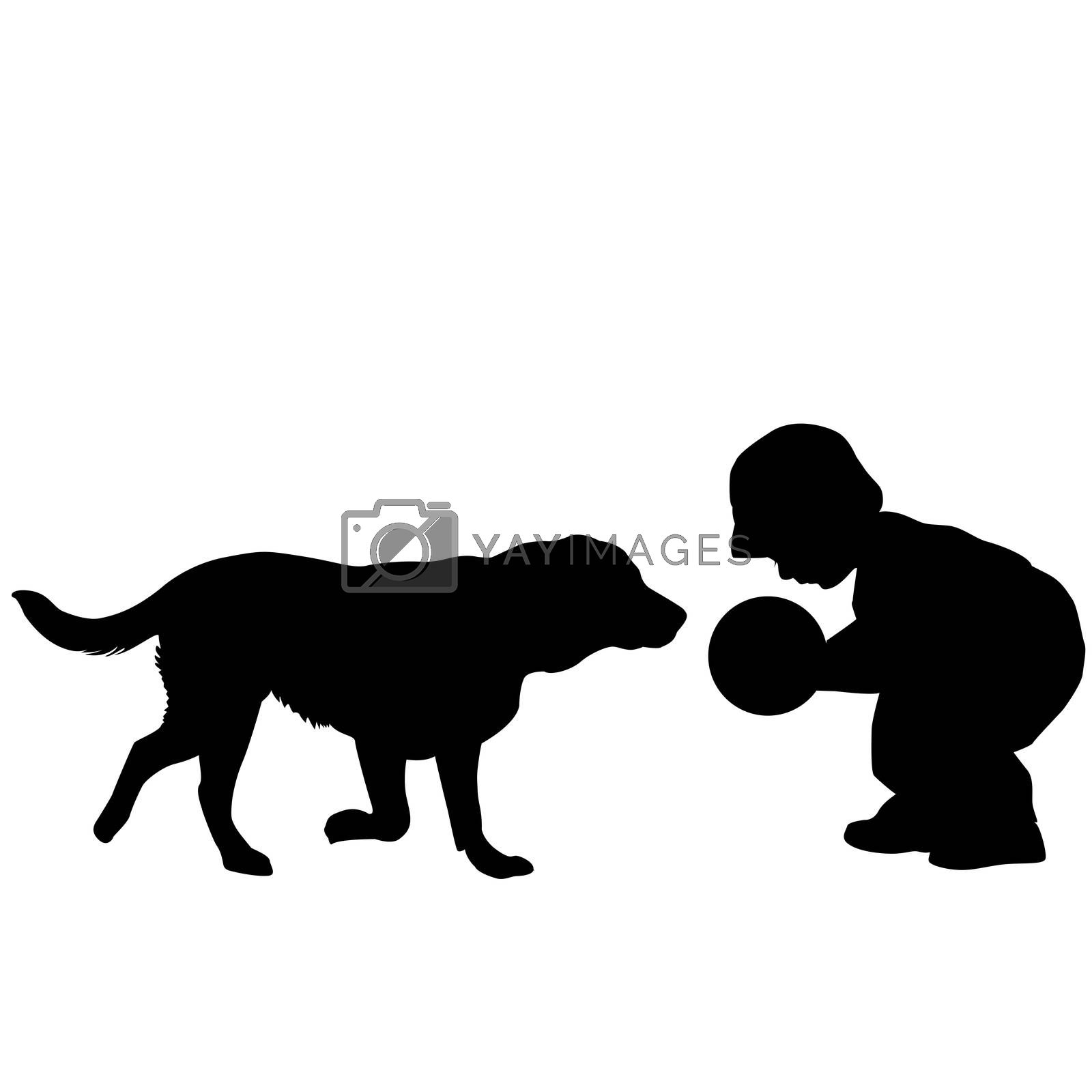 Toddler playing with a dog by LZT
