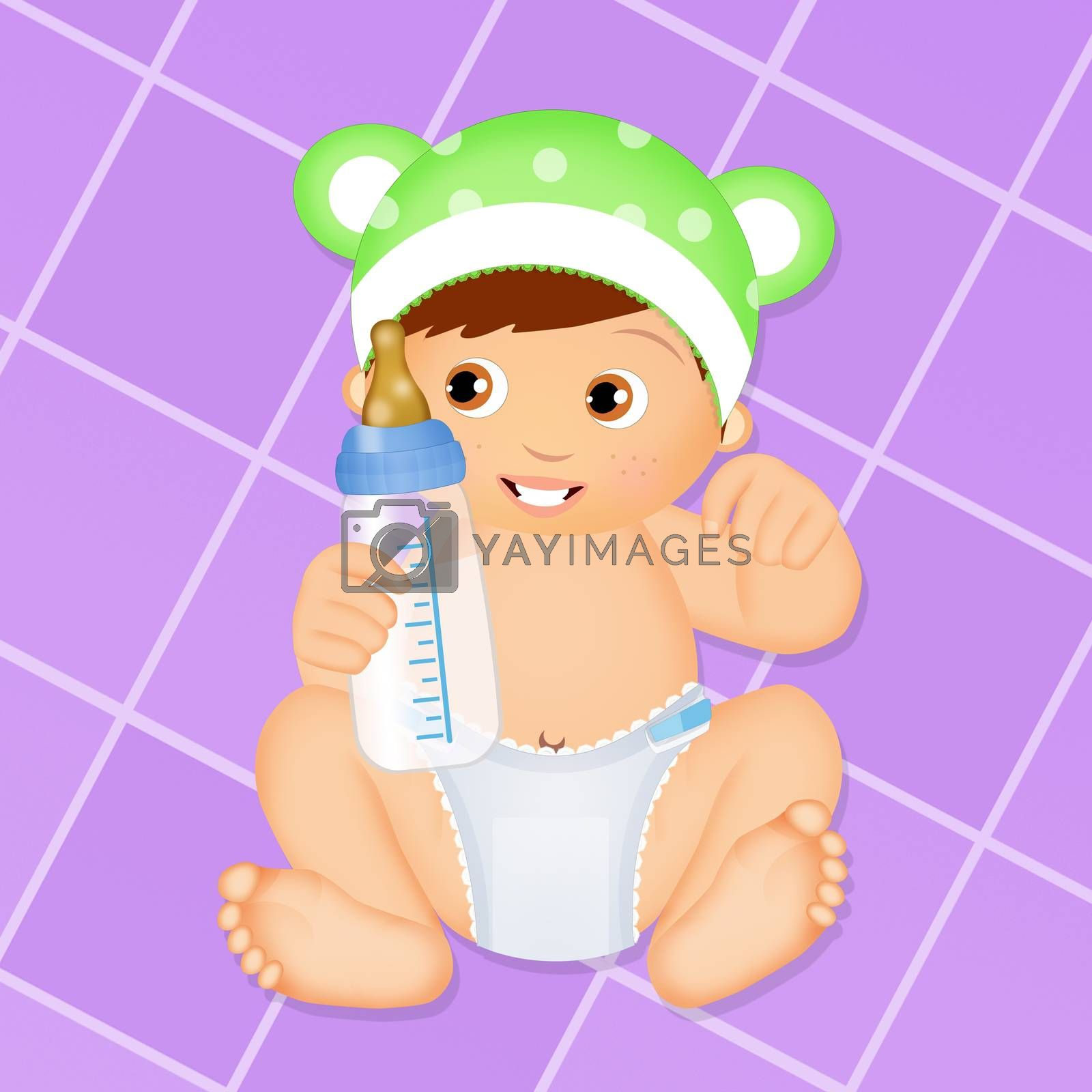 illustration of baby with diaper and baby bottle