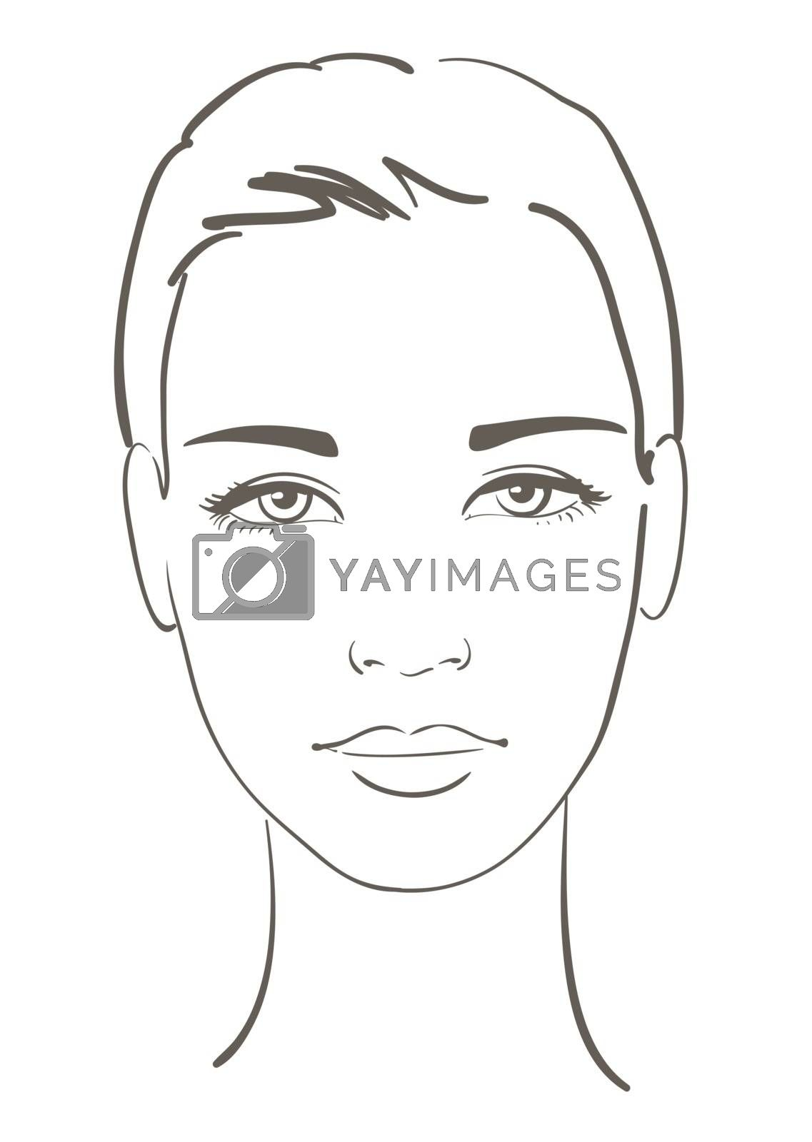 Young woman face. Black and white sketch