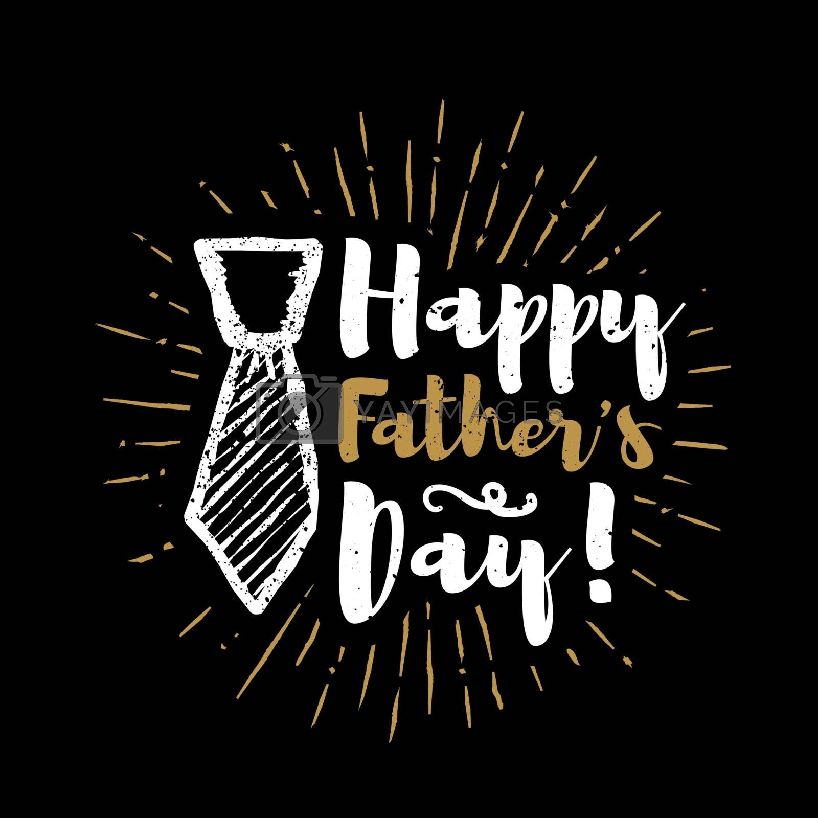 Happy father's day lettering with sunbursts background. Vector