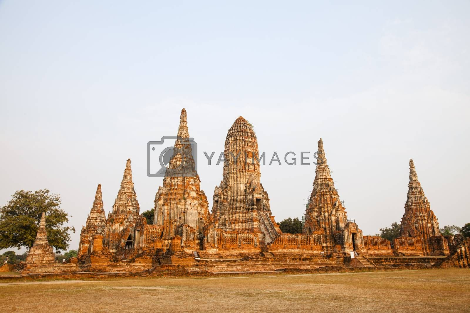Wat Chaiwatthanaram Buddhist temple in the city of Ayutthaya Historical Park, Thailand. Ayutthaya's best known temples and a major tourist attraction.