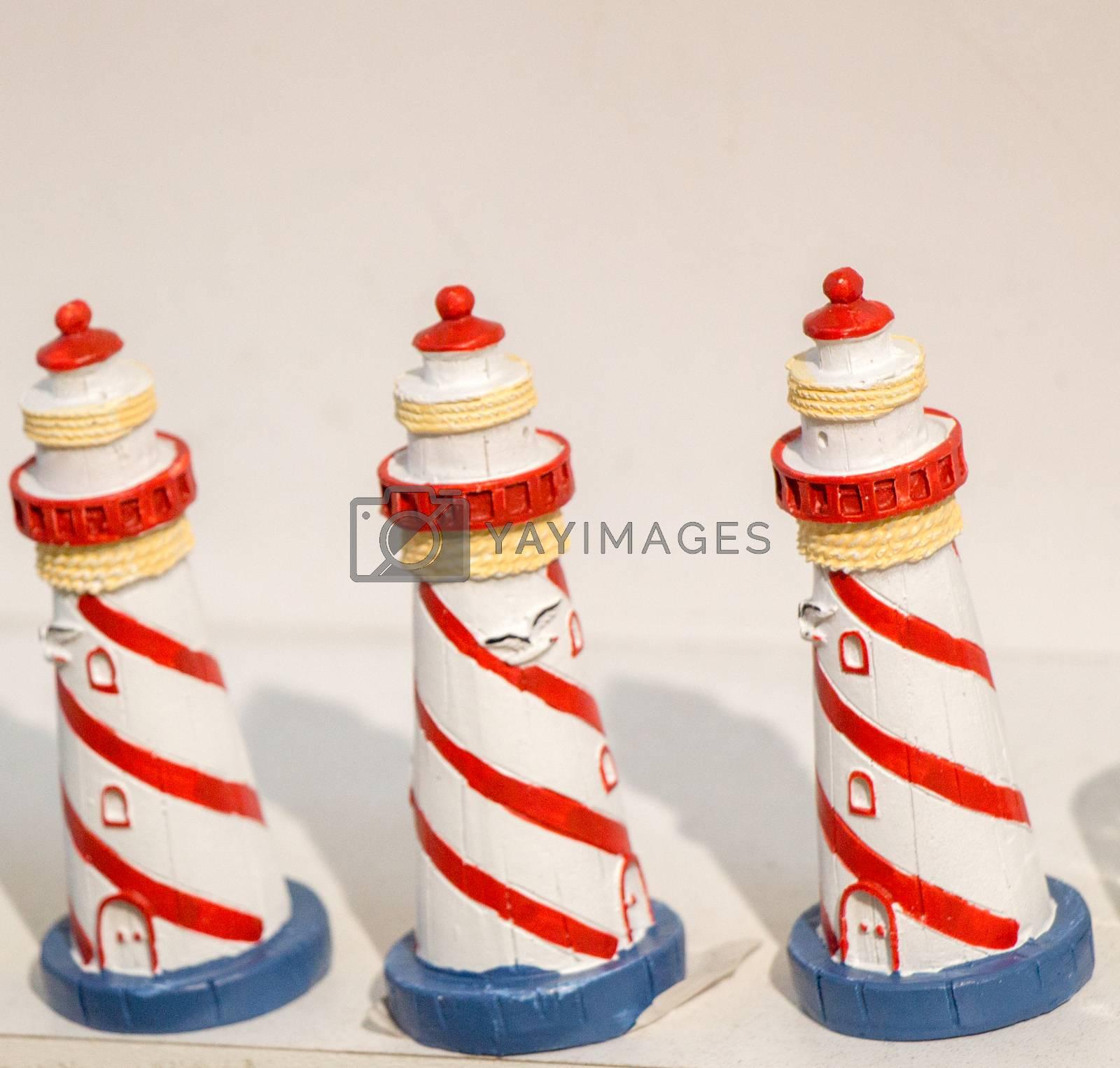 Set of Little handmade model lighthouses