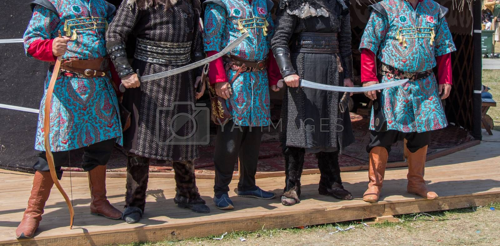 Turkish  man and horseman ethnic clothes examples