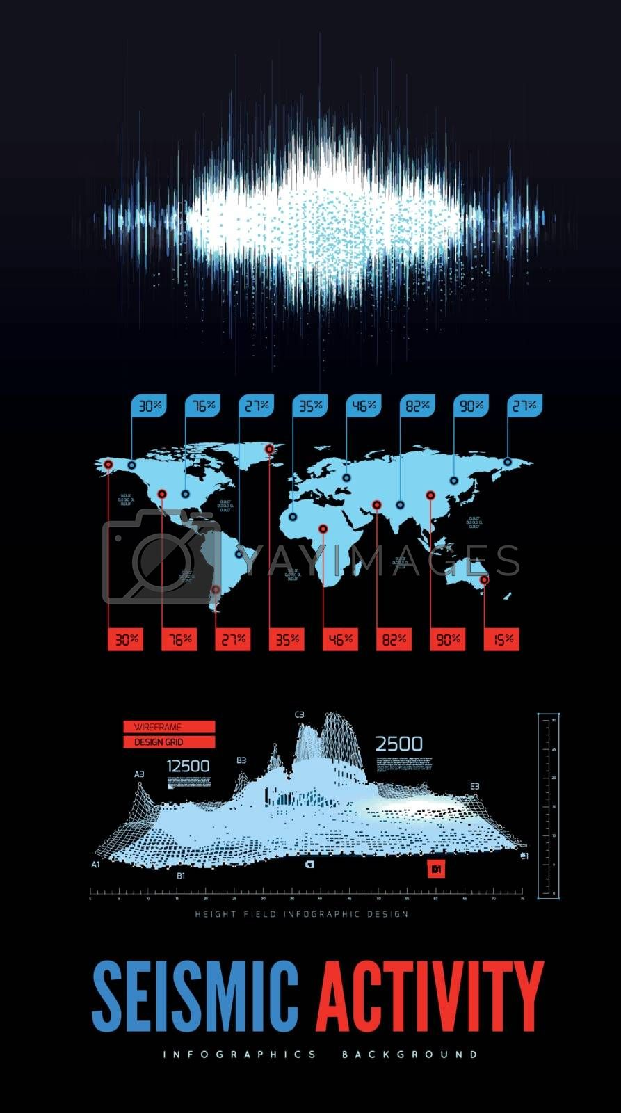 Seismic activity infographics vector illustration with sound waves, graphs and topological relief on blackbackground