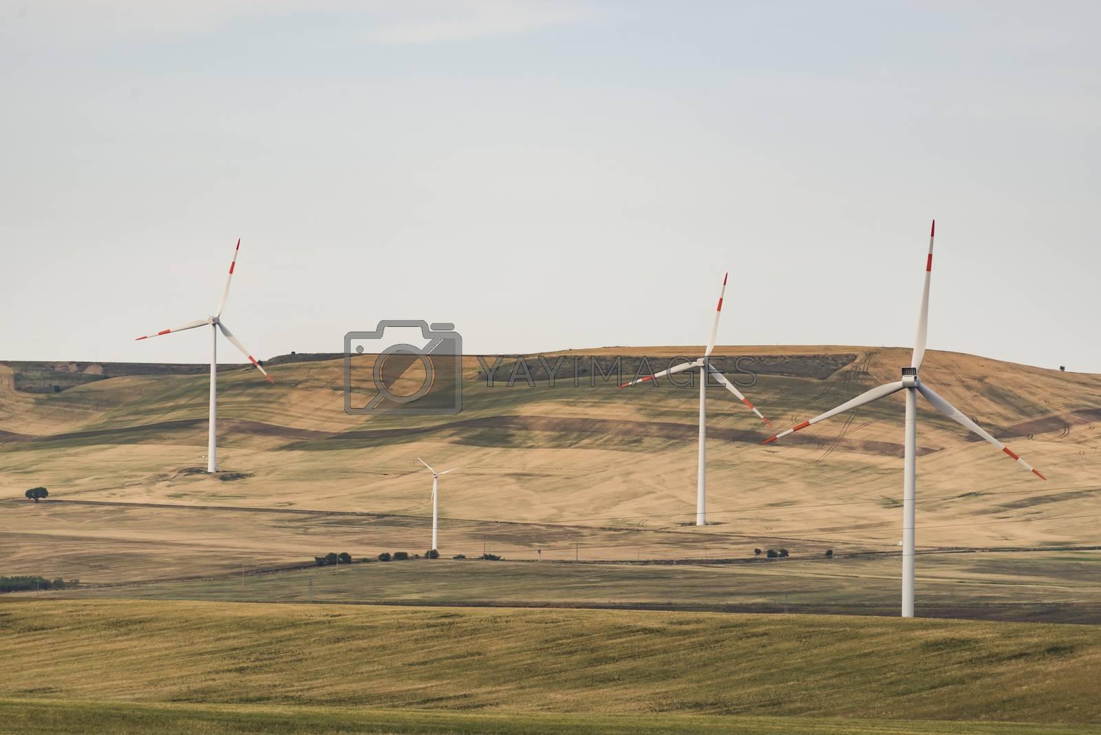 series of wind turbines on the italian landsdape