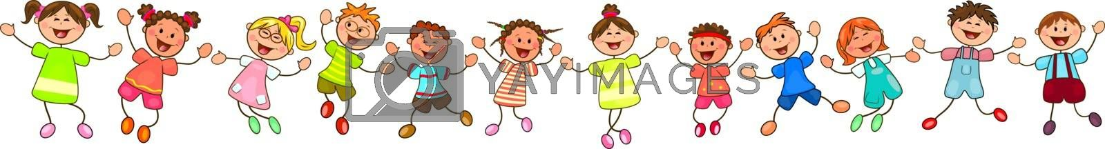 Group of cheerful, smiling children on a white background. Cartoon joyful children.