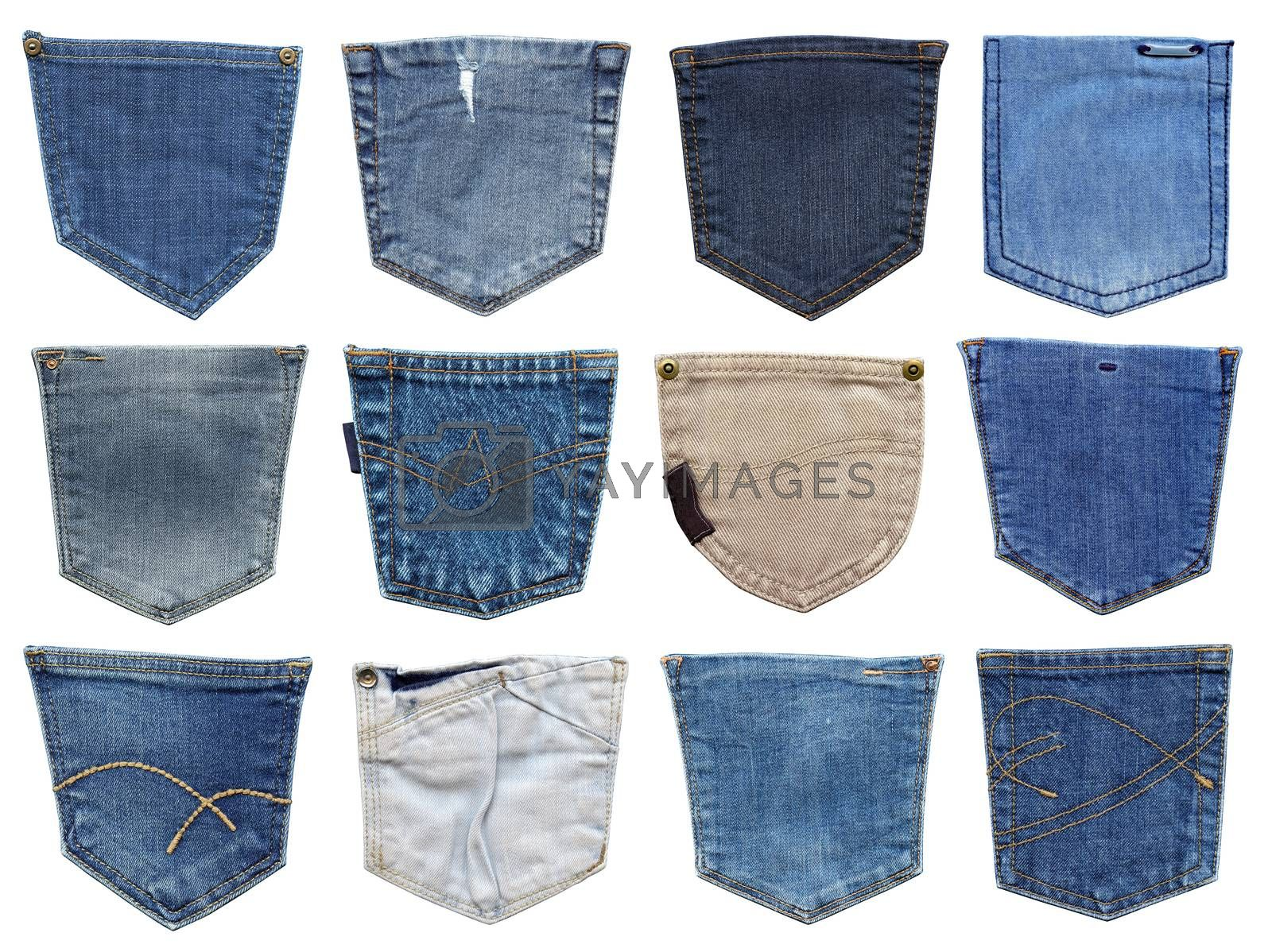 Jeans pocket isolated on white. Set of different jeans pocket. by ESSL