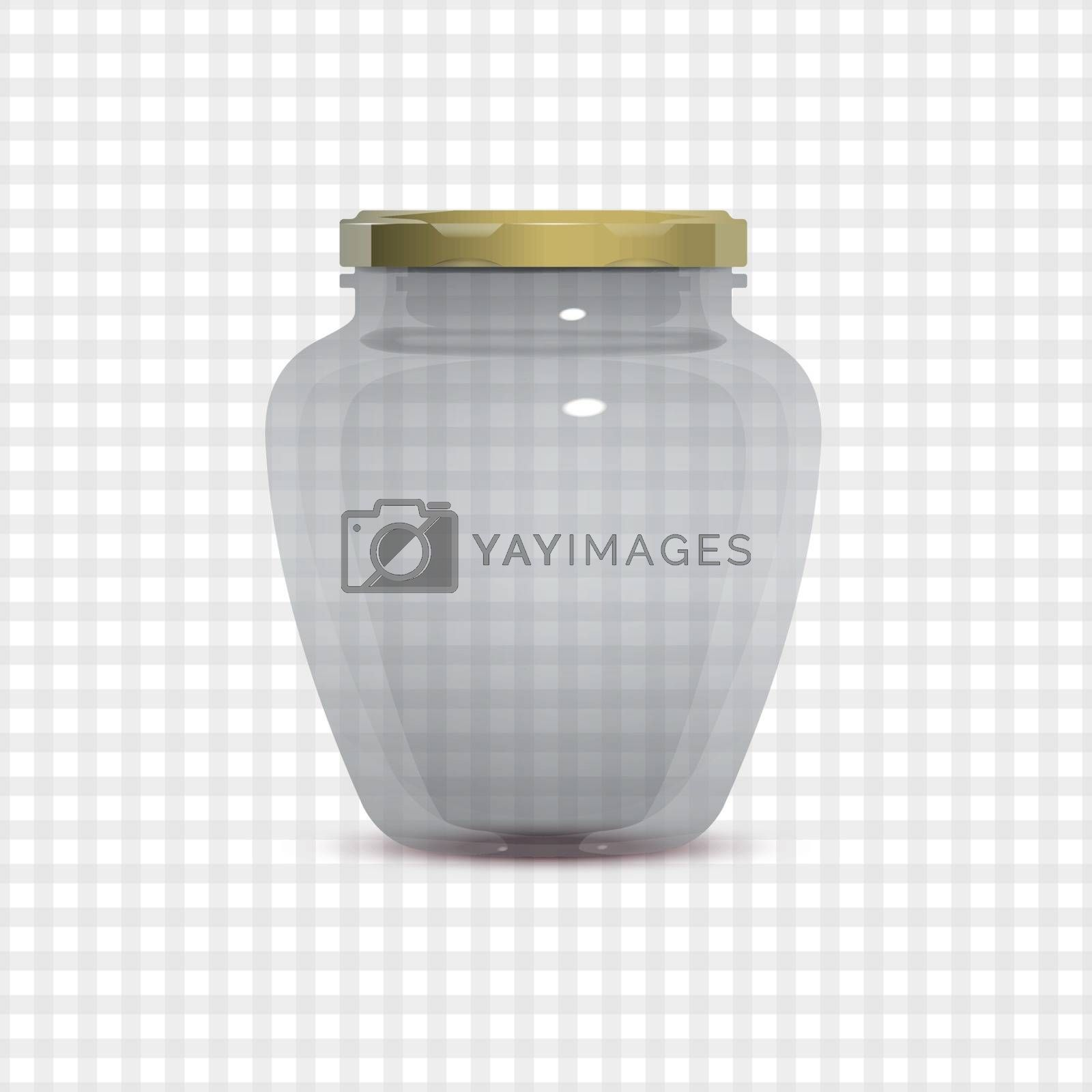 Empty transparent glass jam jar on tablecloth background. Realistic vector illustration