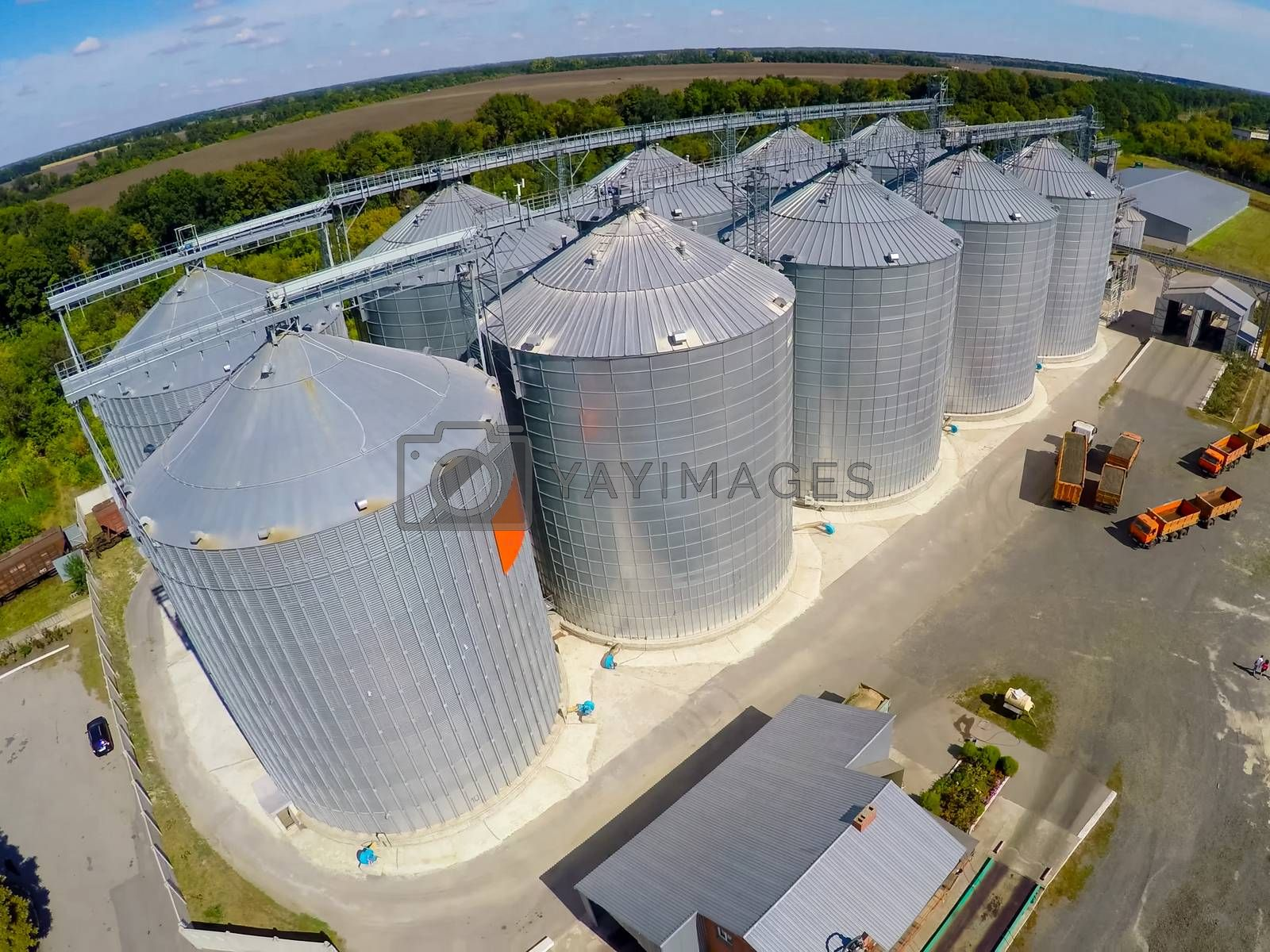 Flight of the grain terminal from the drone. The grain plant for storage and drying of grain. Grain terminal. Plant for the drying and storage Rice plant in the middle of fields by Nirkov