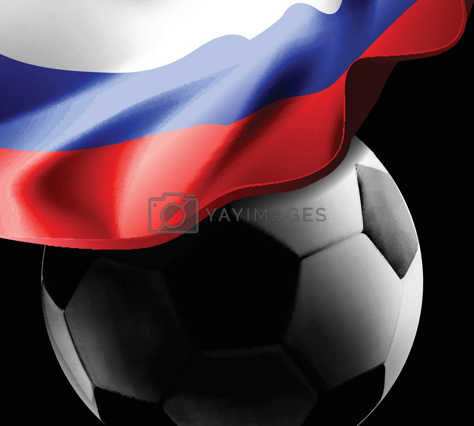 World Championship Football 2018 Background Soccer Russia with flag and football ball. Vector illustration on black