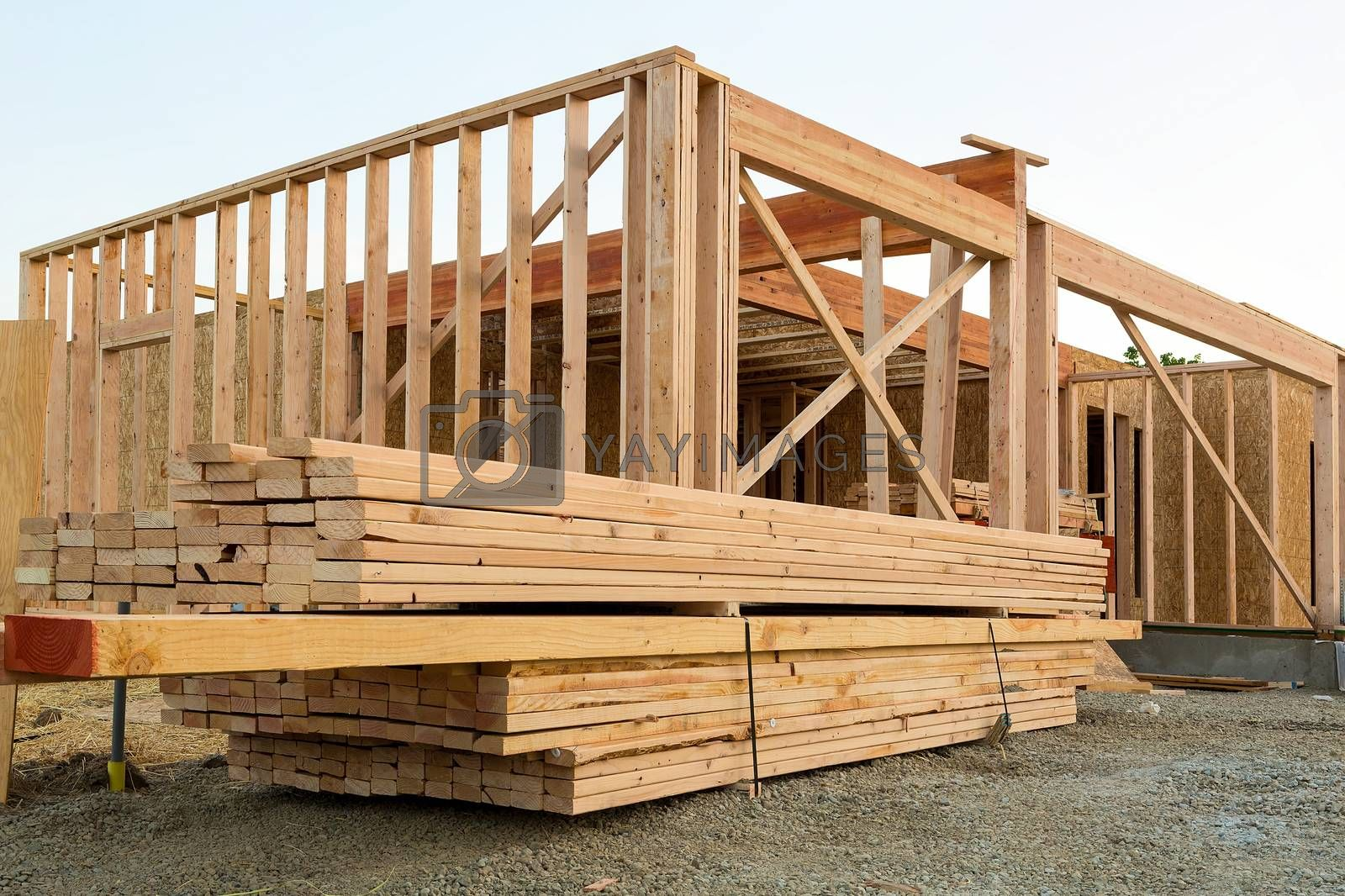 Wood Lumber Studs and Beams by House Construction Framing