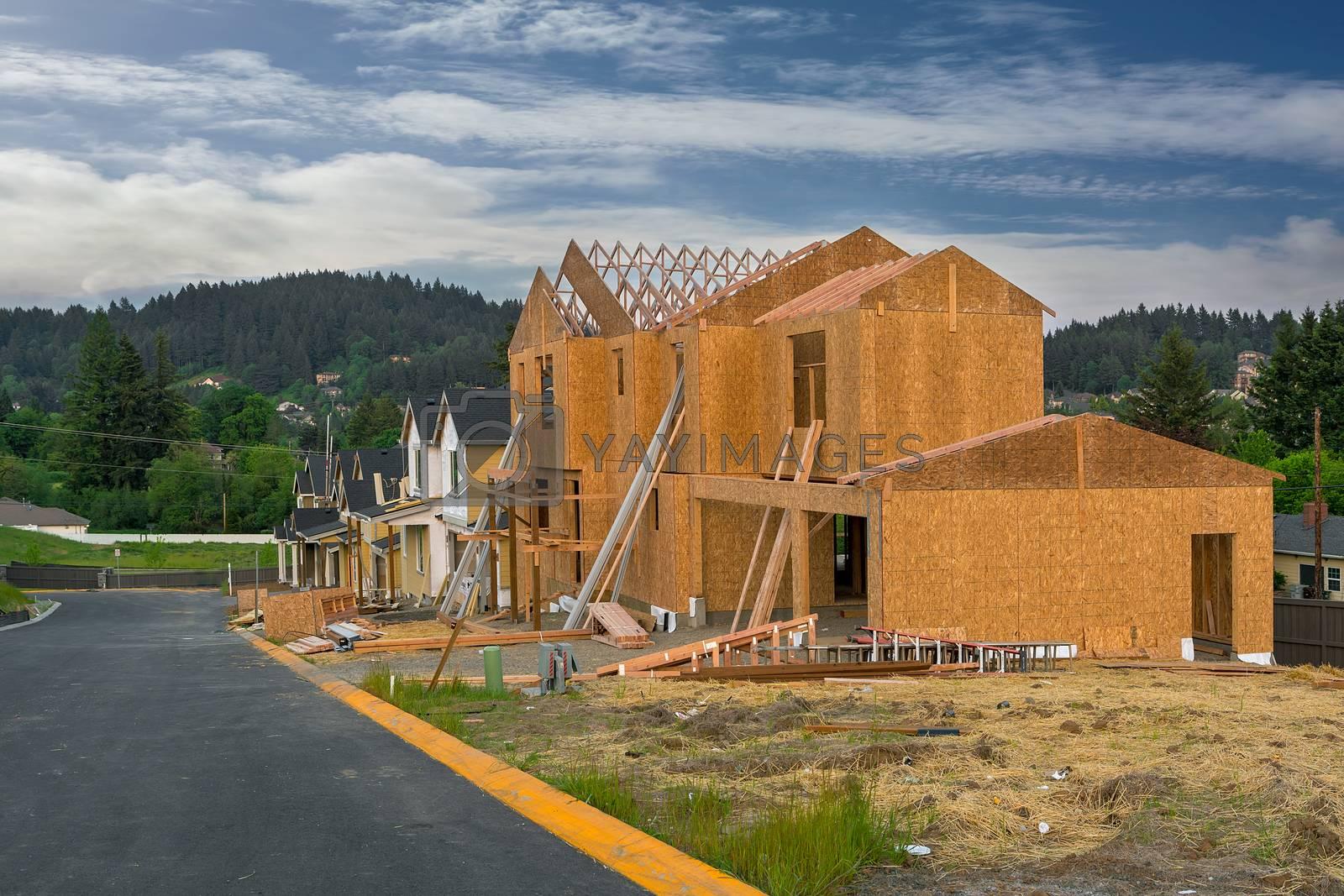New home construction in Happy Valley Oregon North American suburban subdivision