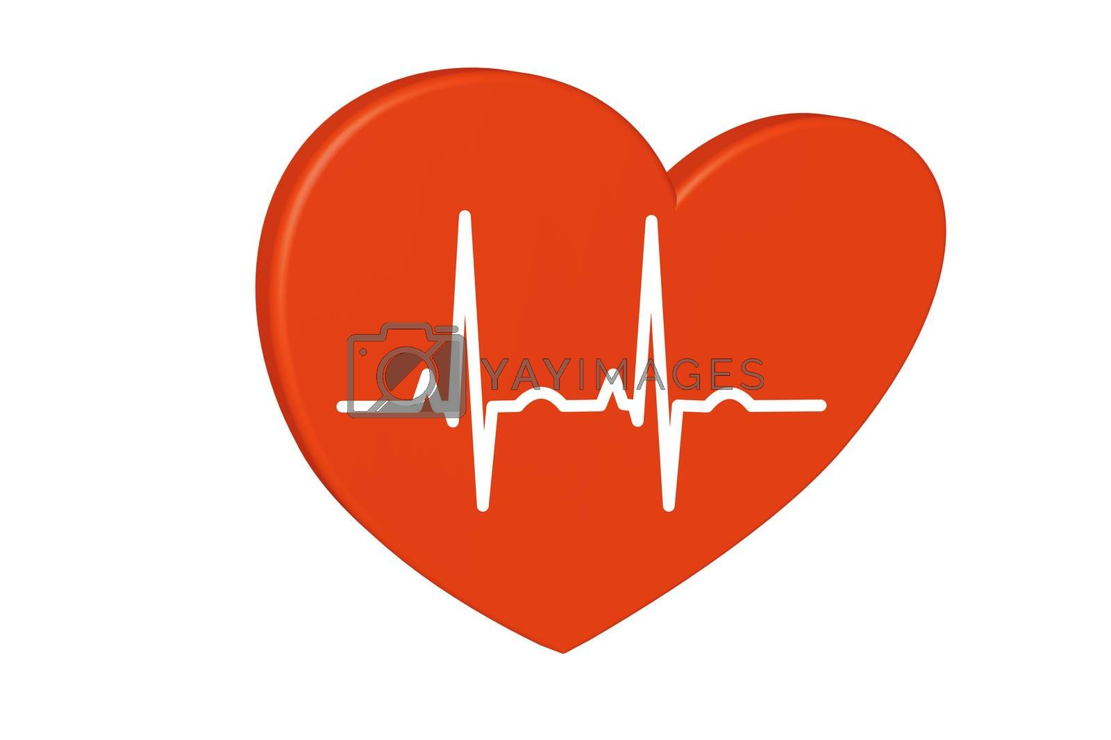 Royalty free image of Red heart on a white background. Pulse rate chart.               by JFsPic
