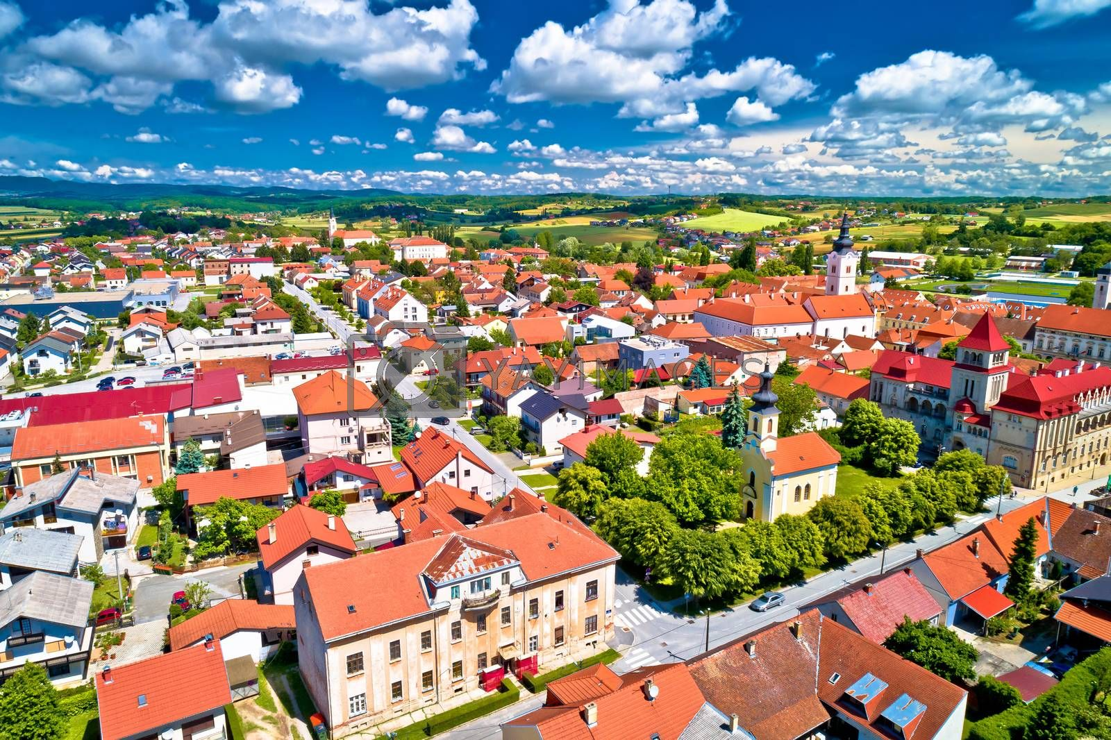 Colorful medieval town of Krizevci aerial view by xbrchx