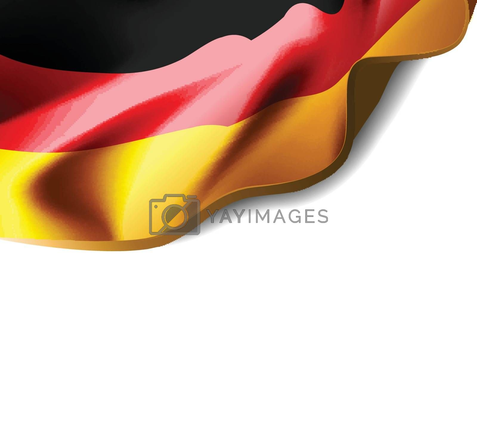 Waving flag of Germany close-up with shadow on white background. Vector illustration with copy space for your design