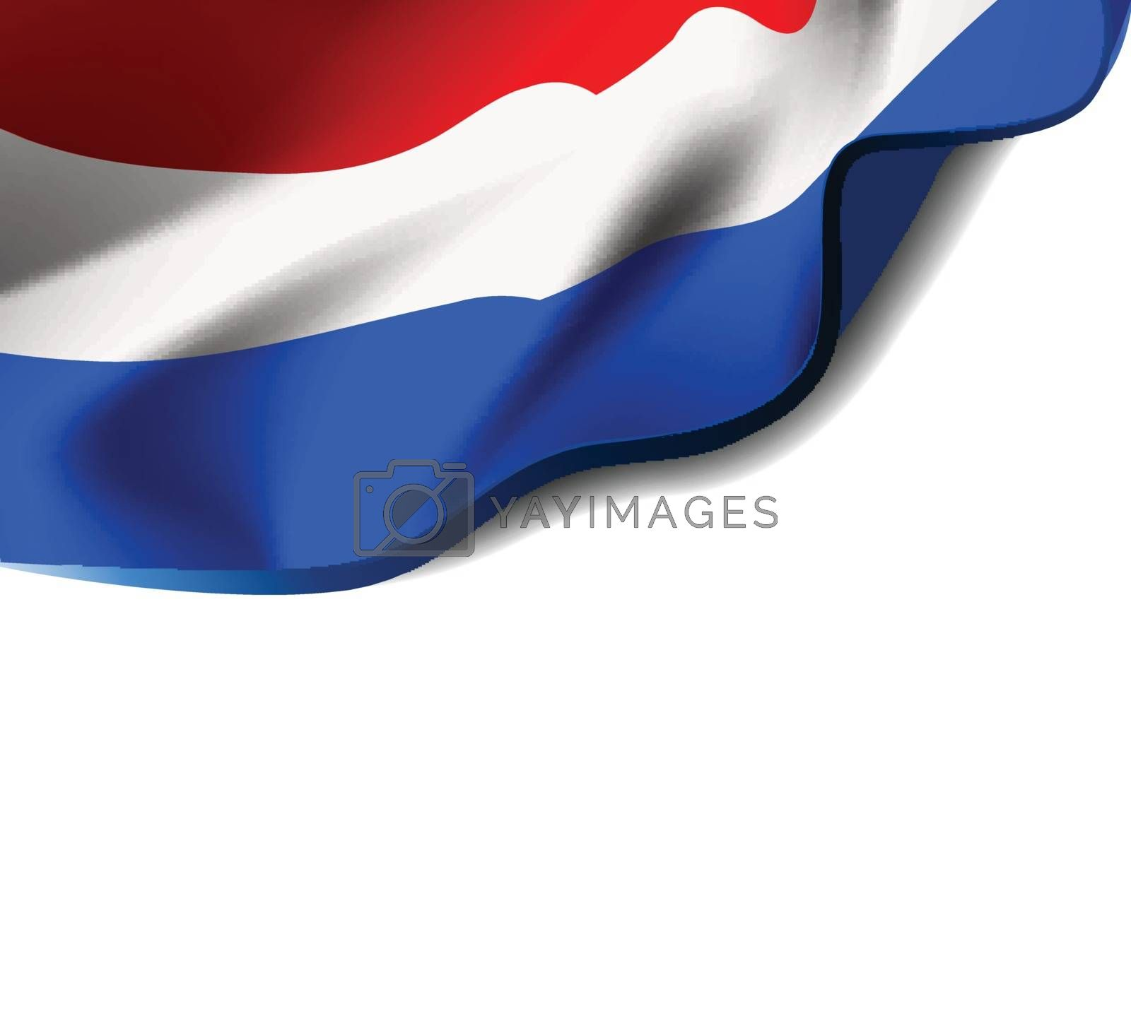 Waving flag of Netherlands close-up with shadow on white background. Flag of Holland. Vector illustration with copy space for your design