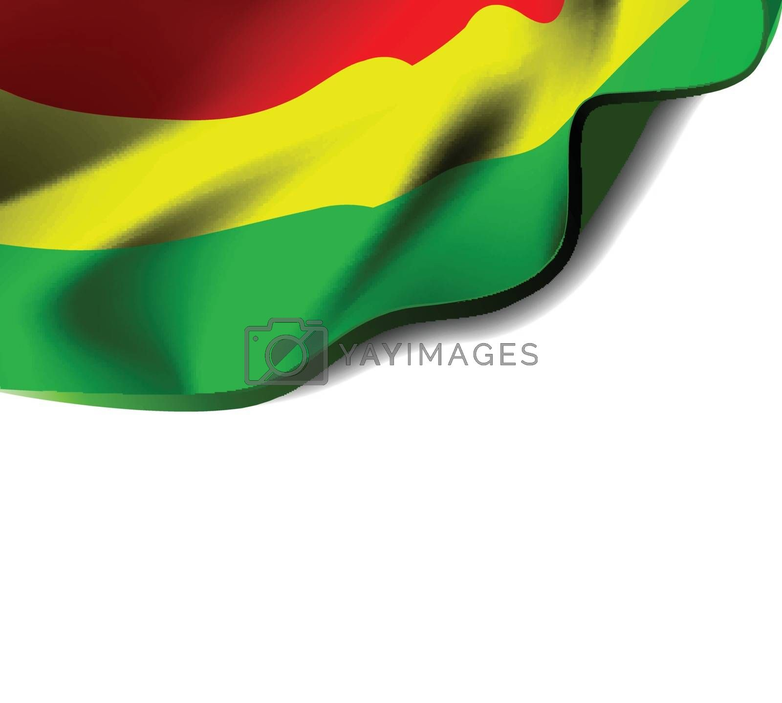 Waving flag of Plurinational State of Bolivia close-up with shadow on white background. Vector illustration with copy space for your design